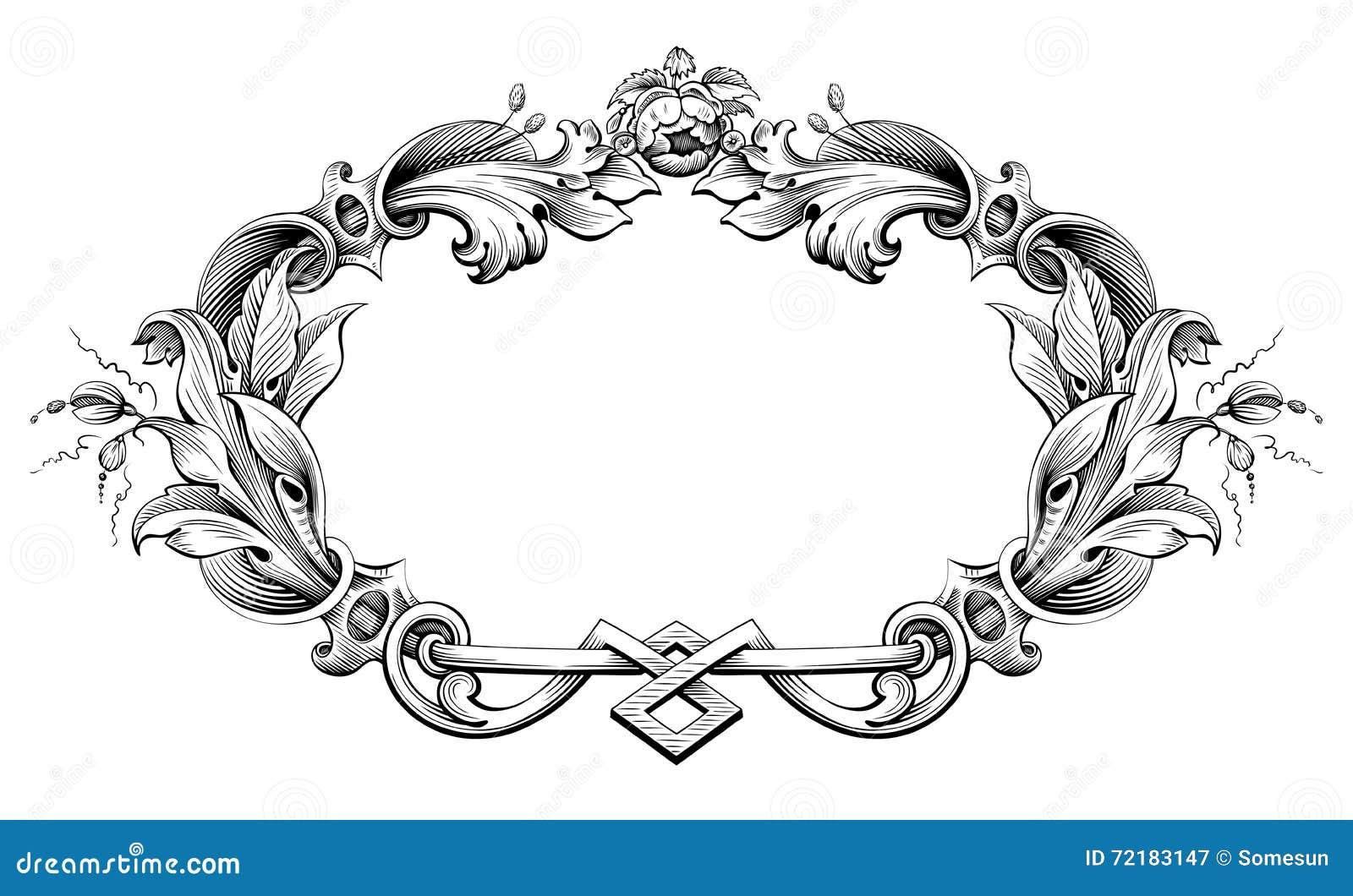 Rocznika wiktoriański ramy granicy monograma kwiecistego ornamentu Barokowa ślimacznica grawerujący retro deseniowy tatuaż kaligr