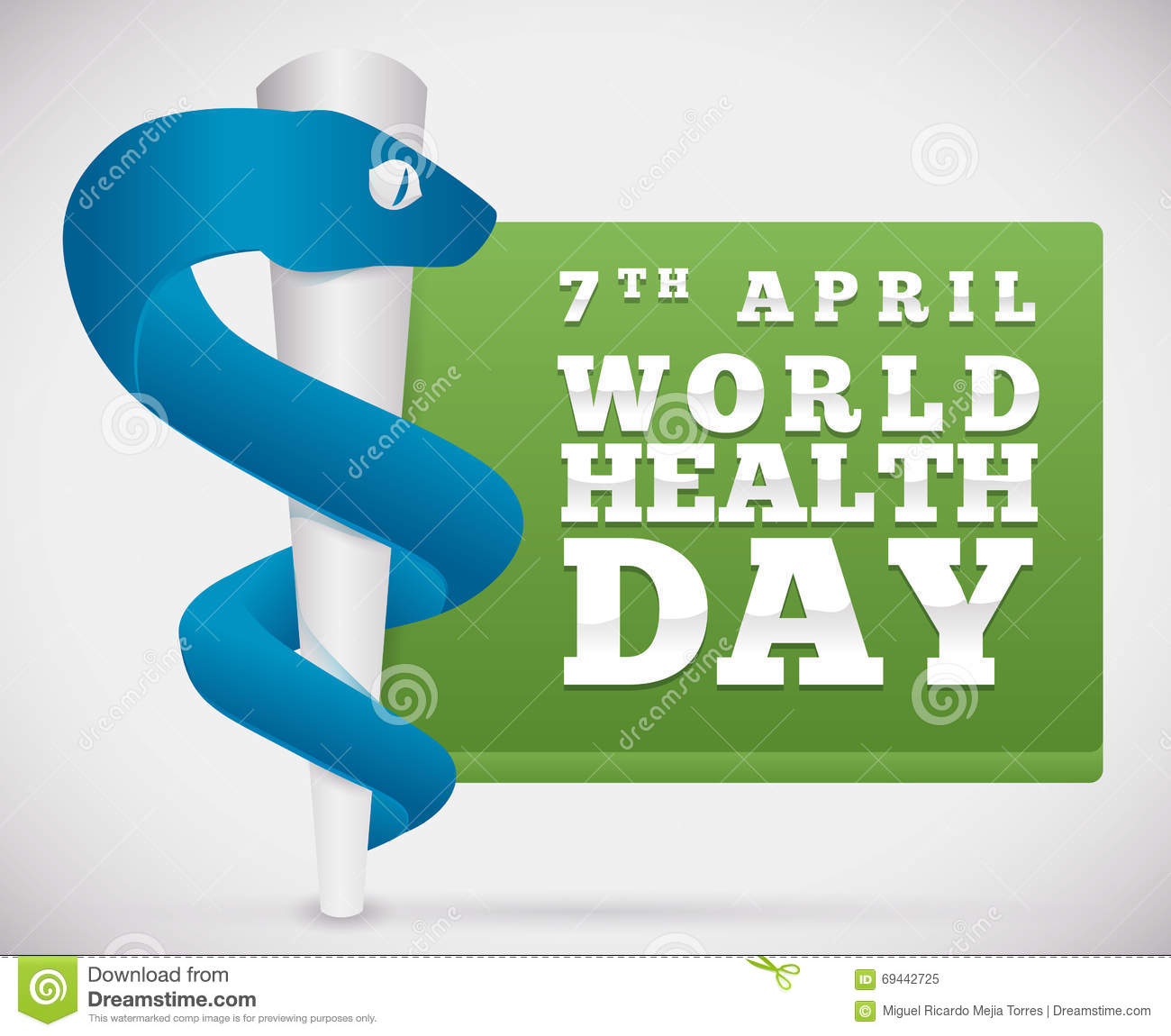 Rod Of Asclepius With A Button For World Health Day ...