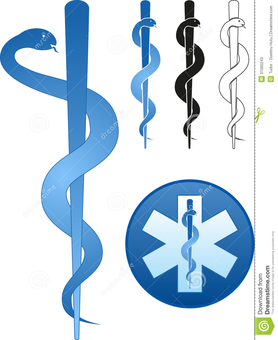 Rod Of Asclepius Stock Vector Illustration Of Symbols 31065243