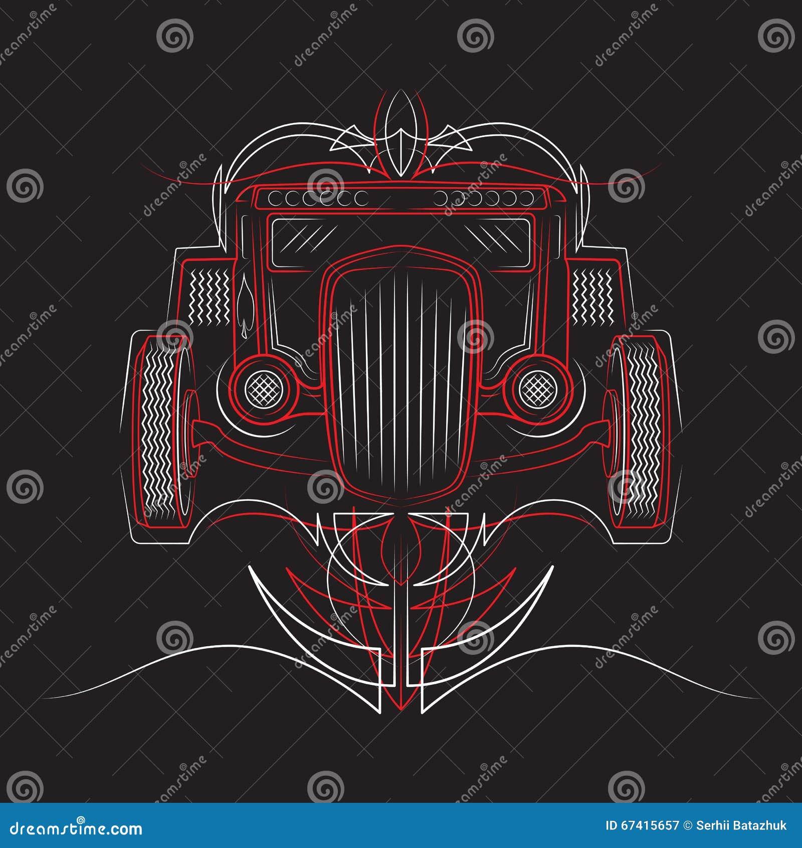 Rod chaud Rétro véhicule filets Belle illustration de vecteur de filet