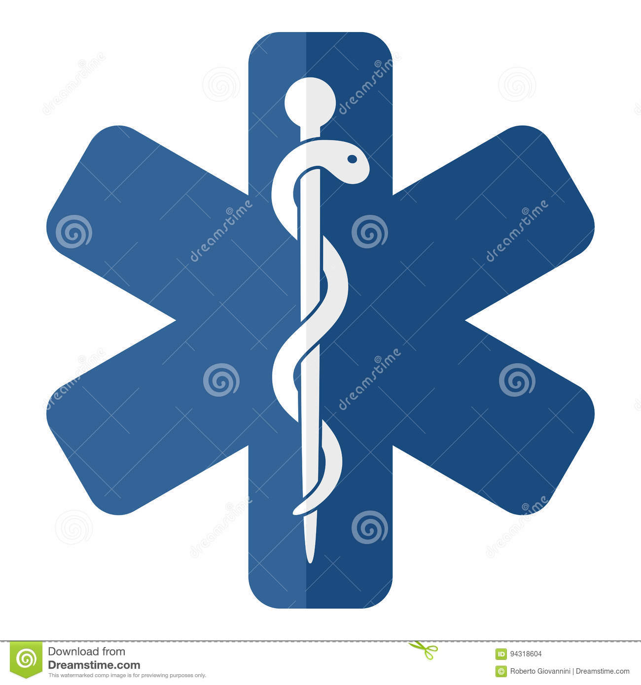 Rod Or Staff Of Asclepius Flat Symbol Stock Vector Illustration Of