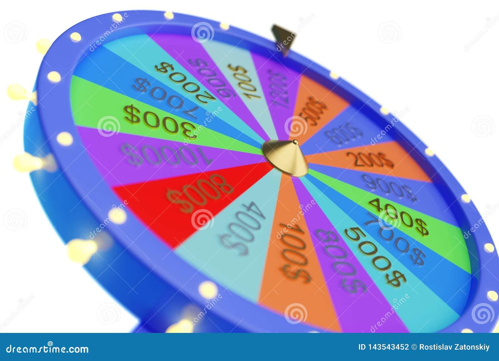 Roda colorida da ilustra??o 3d da sorte ou da fortuna Rodas de gerencio da fortuna da roleta, roda do casino Fortuna da roda sobr