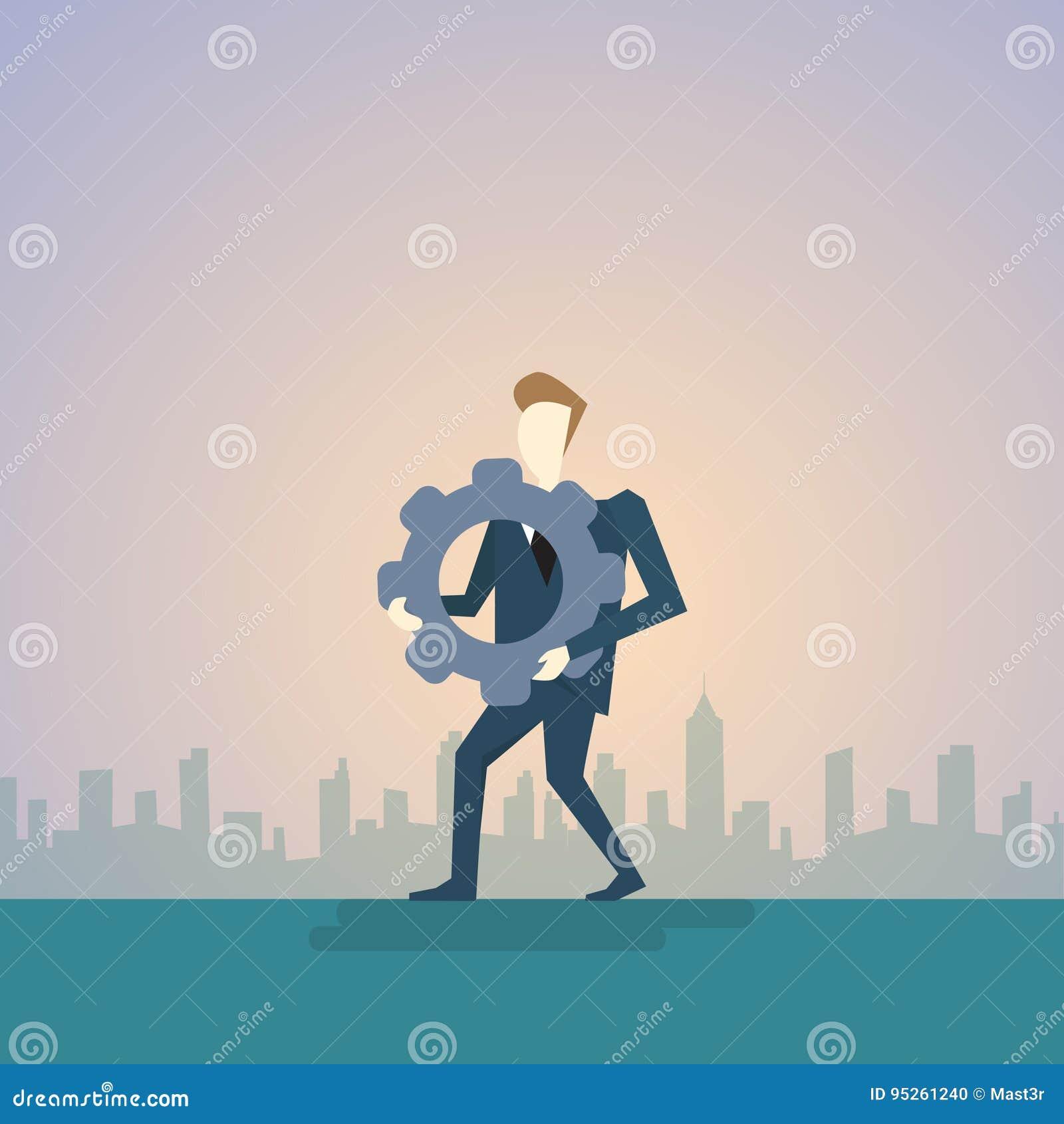 A roda da roda denteada da posse do homem de negócio medita pensa o conceito da estratégia