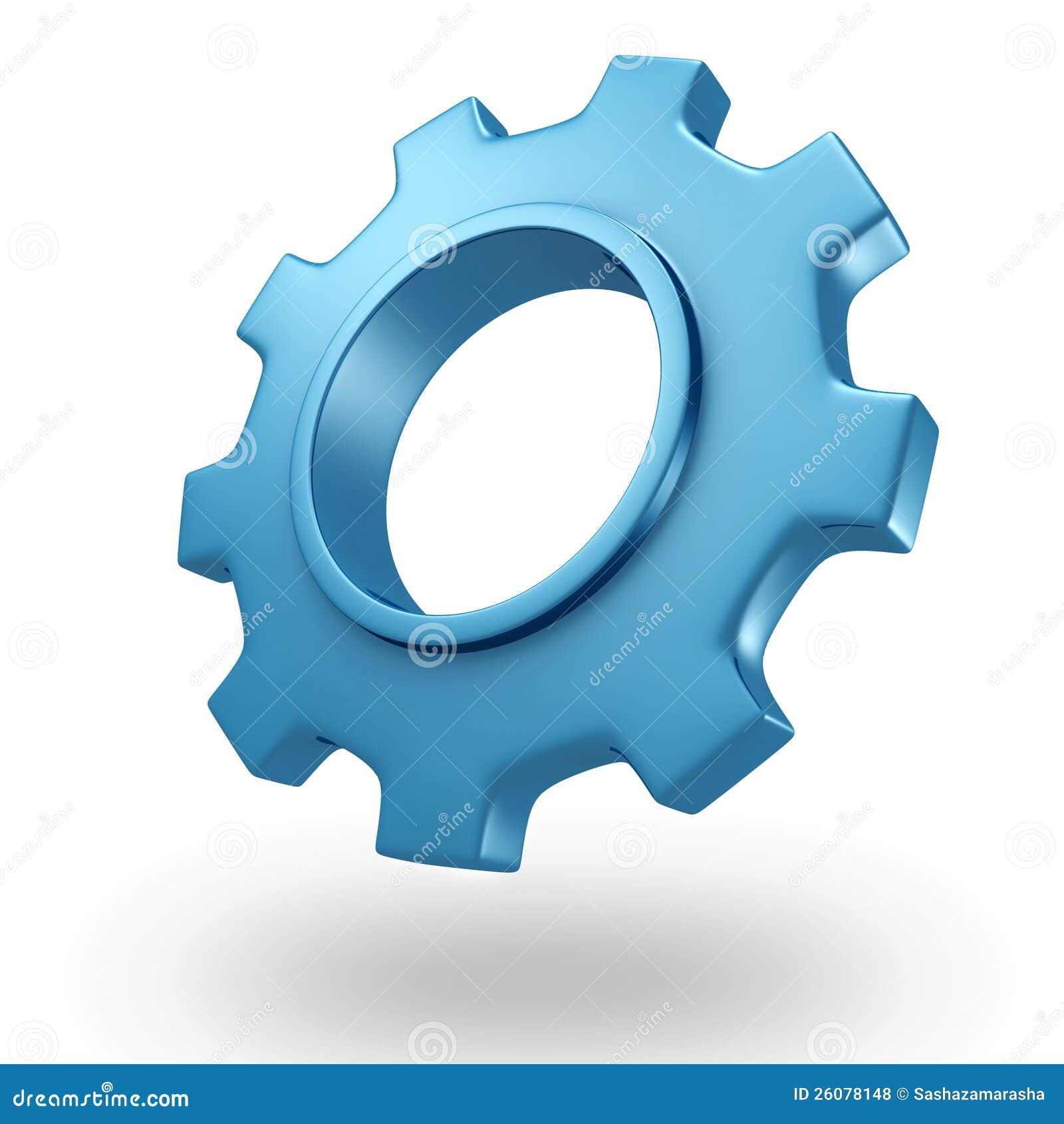 Roda de engrenagem brilhante do conceito 3d azul no branco
