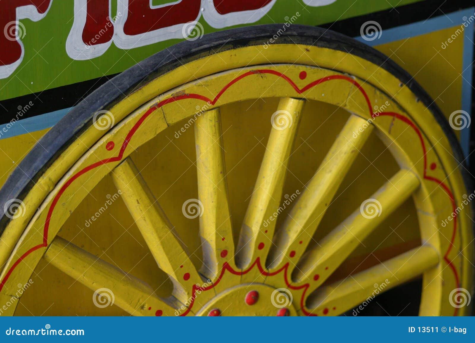 Roda de madeira amarela