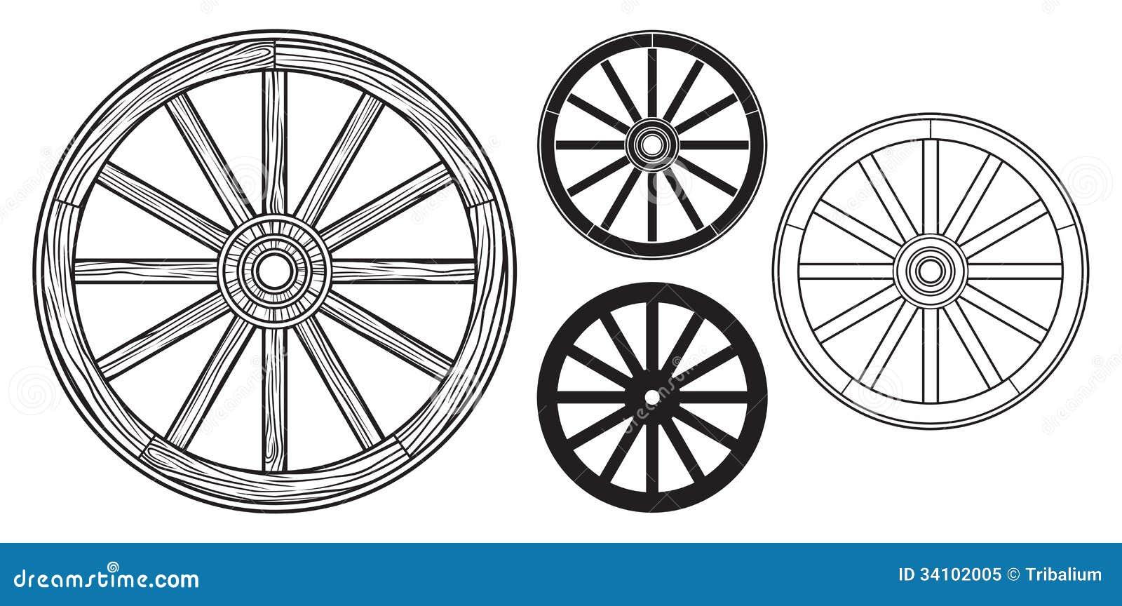 Roda de madeira velha