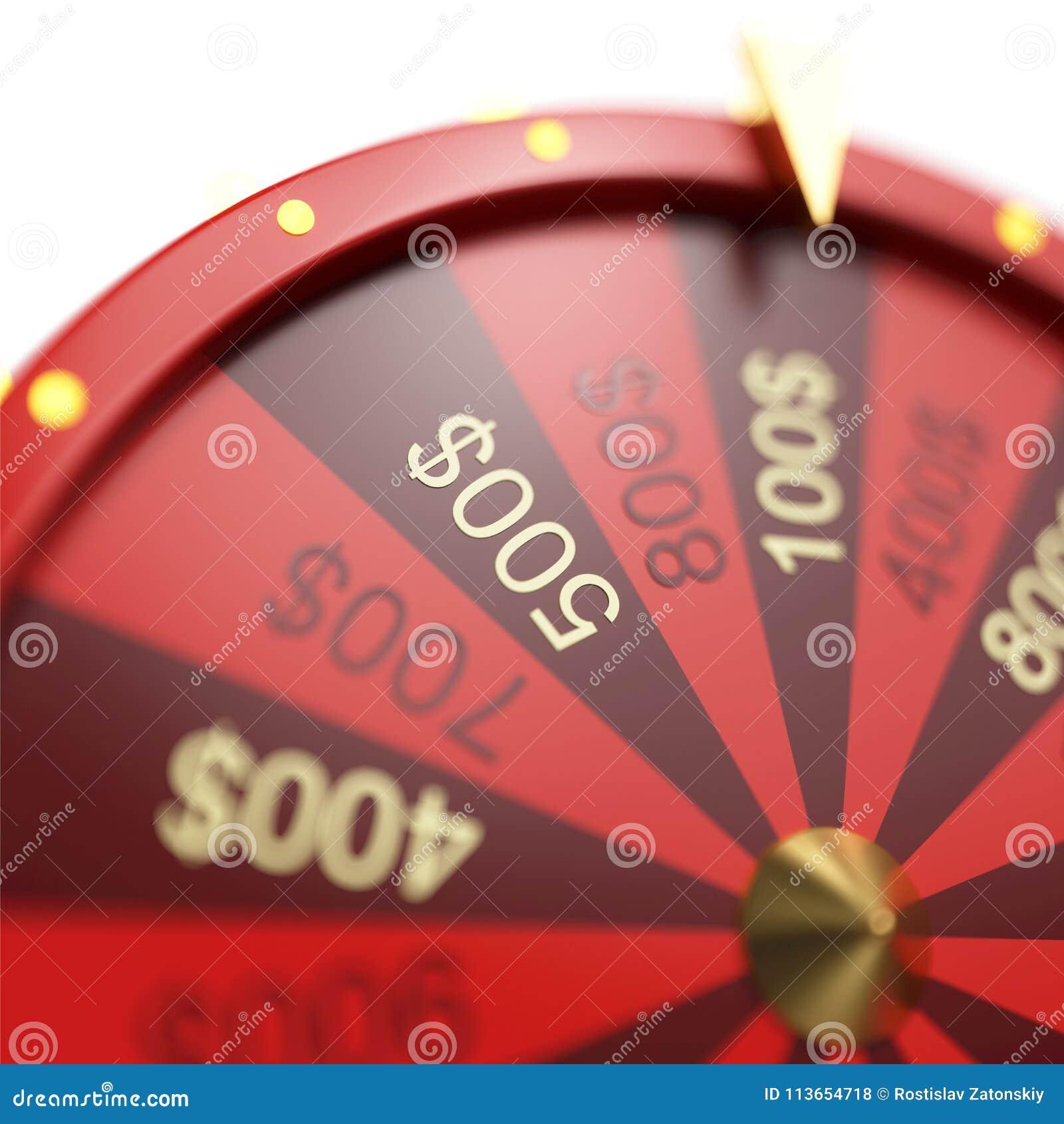 Roda vermelha da ilustração 3d da sorte ou da fortuna Roda de giro realística da fortuna Fortuna da roda isolada no branco