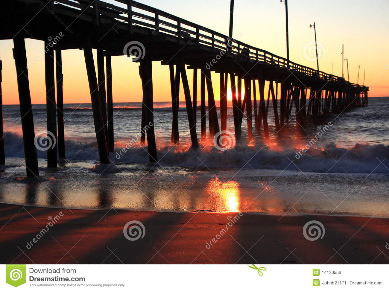 Download Rodanthe Pier stock photo. Image of banks, hatteras, sunset - 14130556