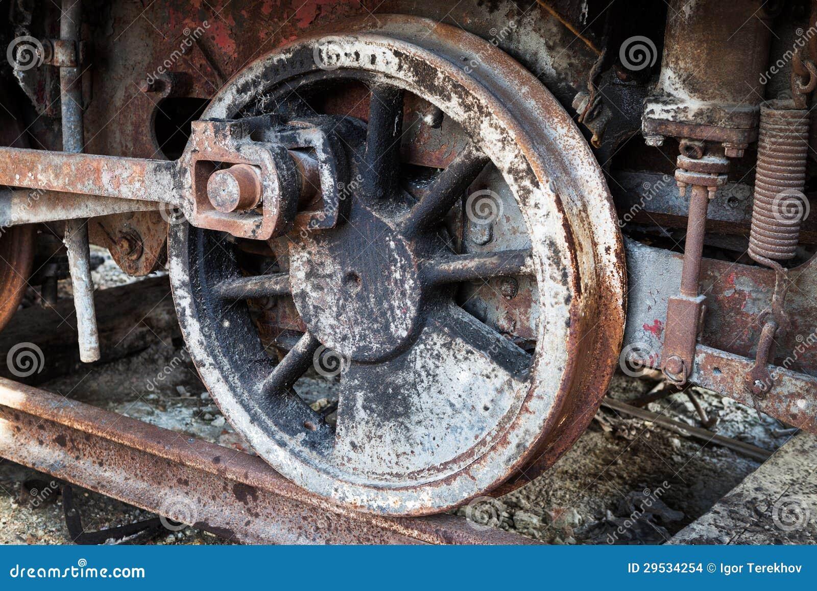 Rodas da locomotiva de vapor velha