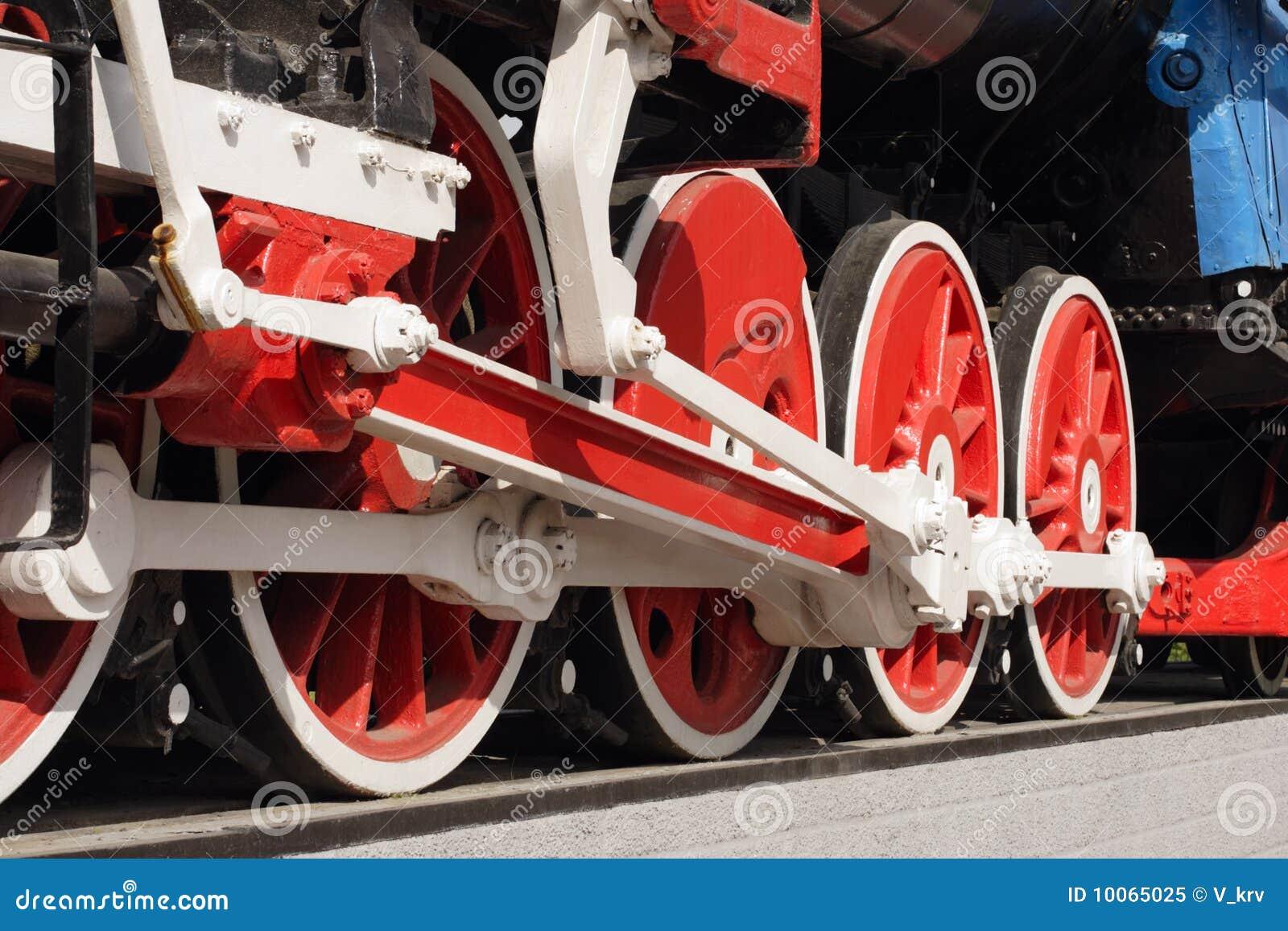 Rodas de uma locomotiva de vapor