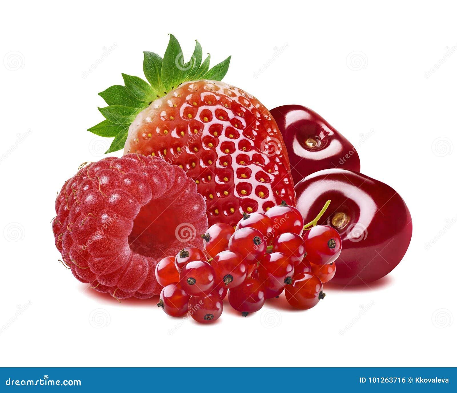 Rode aalbes, aardbei, framboos, geïsoleerde kers