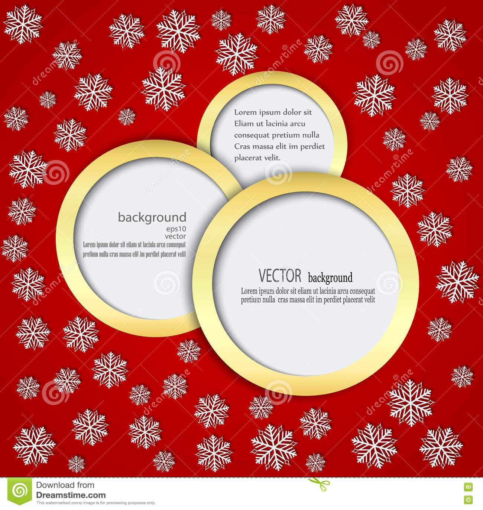 Rode achtergrond met sneeuwvlokken in Cirkels in een gouden kader