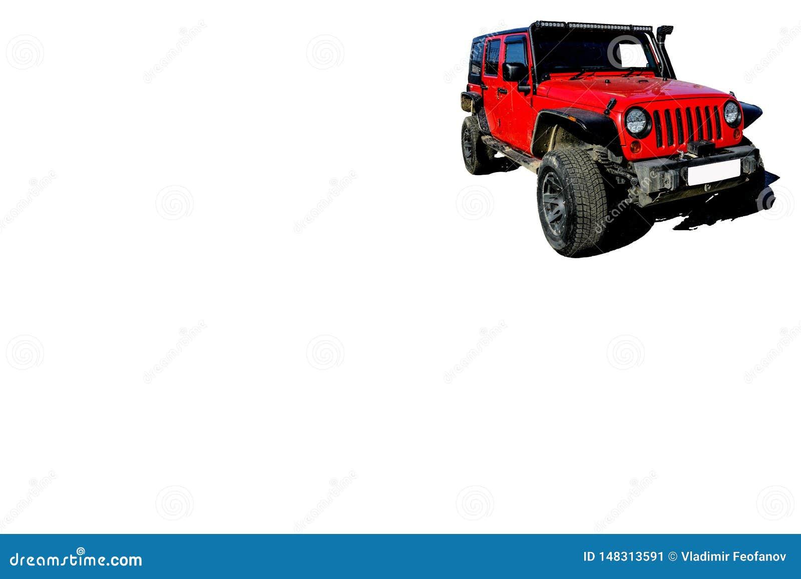 Rode auto voor reis en toerisme in isolate met elektrisch hijstoestel, kant van het blad voor reclame