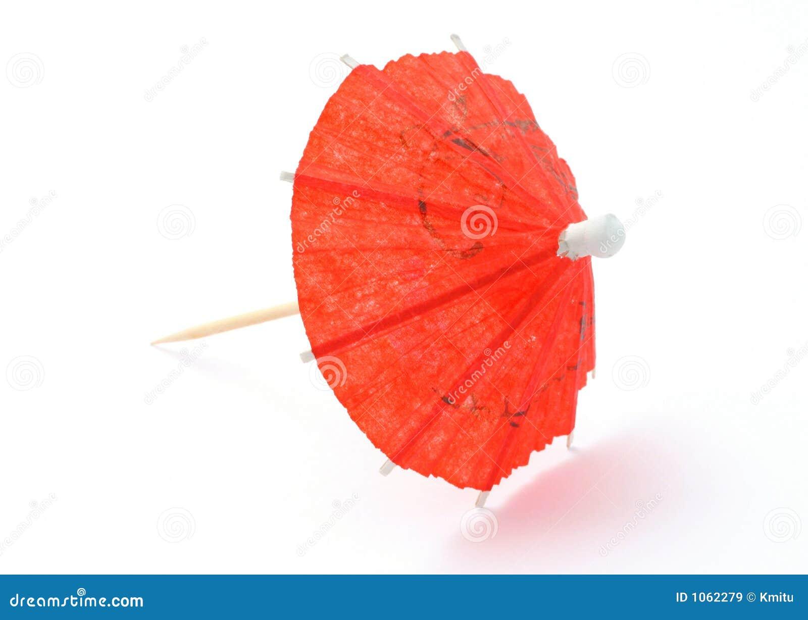 Rode Aziatische cocktailparaplu op wit