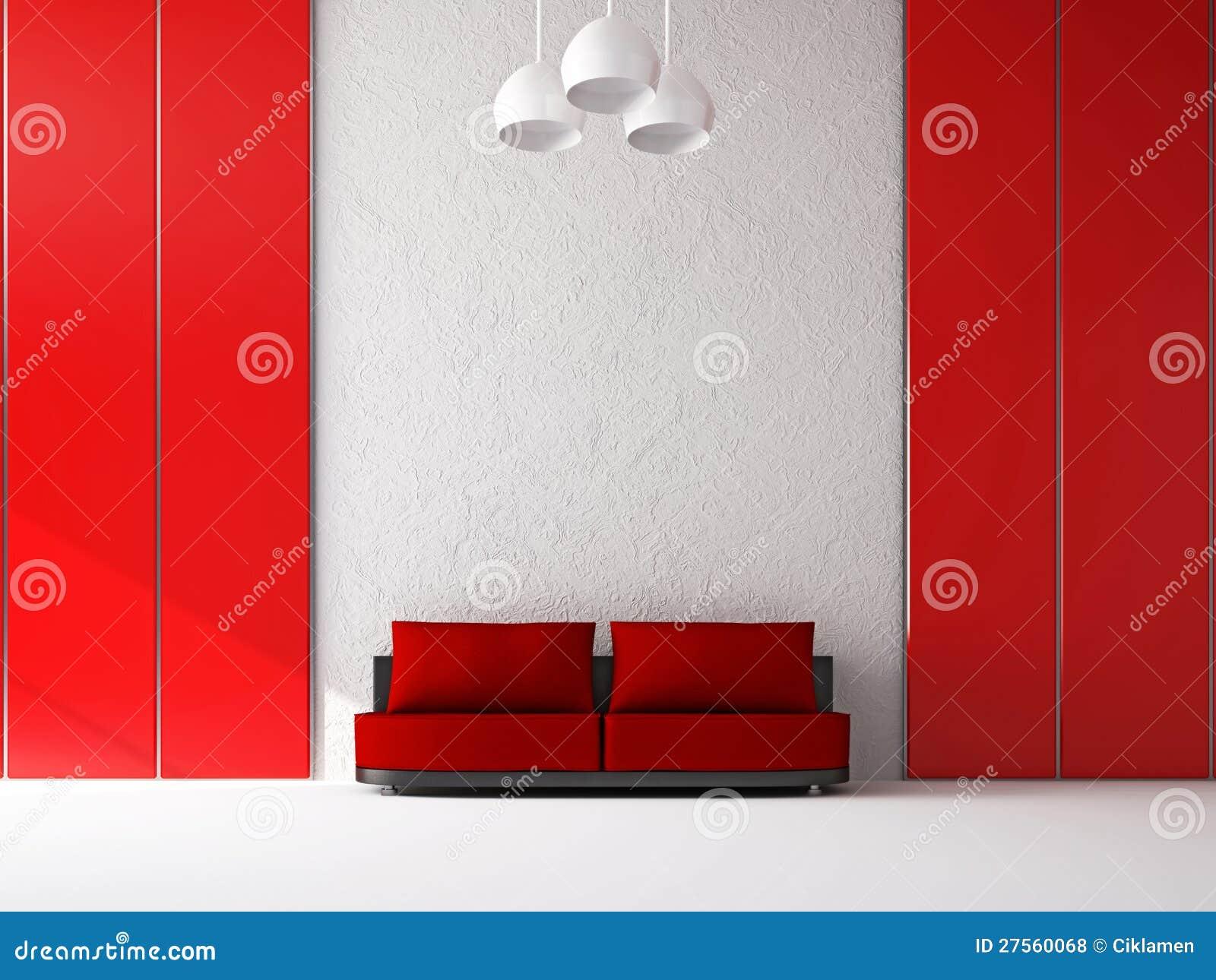 Rode bank dichtbij de muur