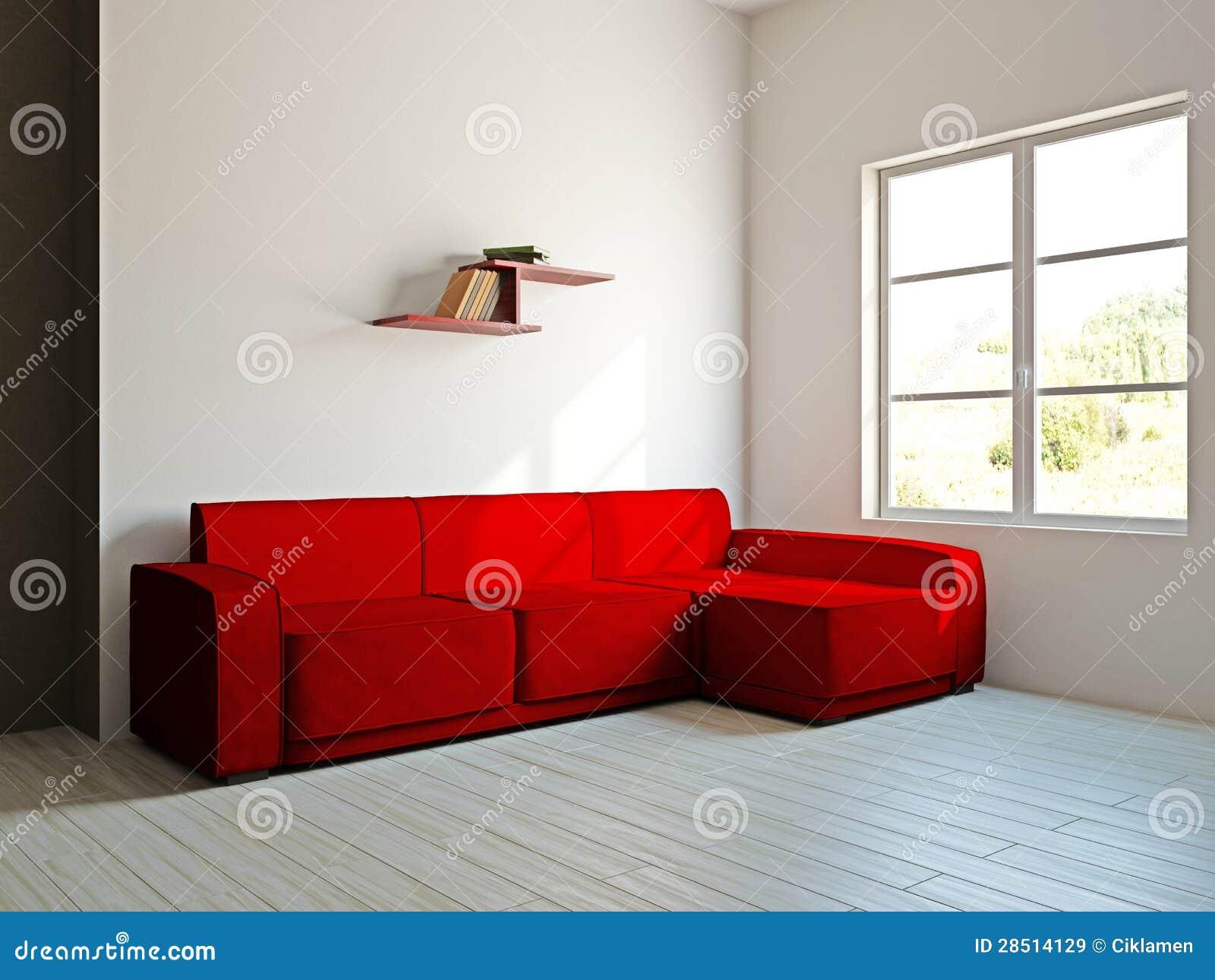 Rode bank en in de woonkamer royalty vrije stock afbeeldingen ...