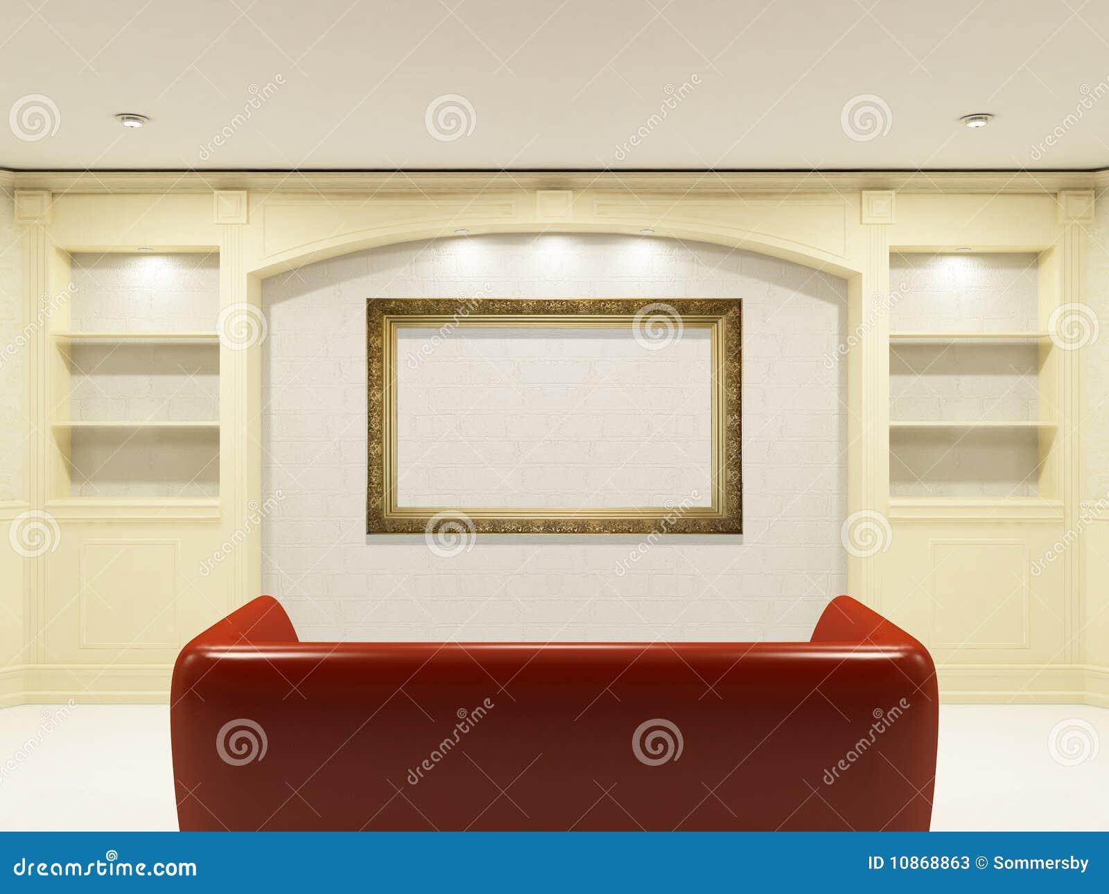 Rode bank met plaats op de muur voor van u informatie.