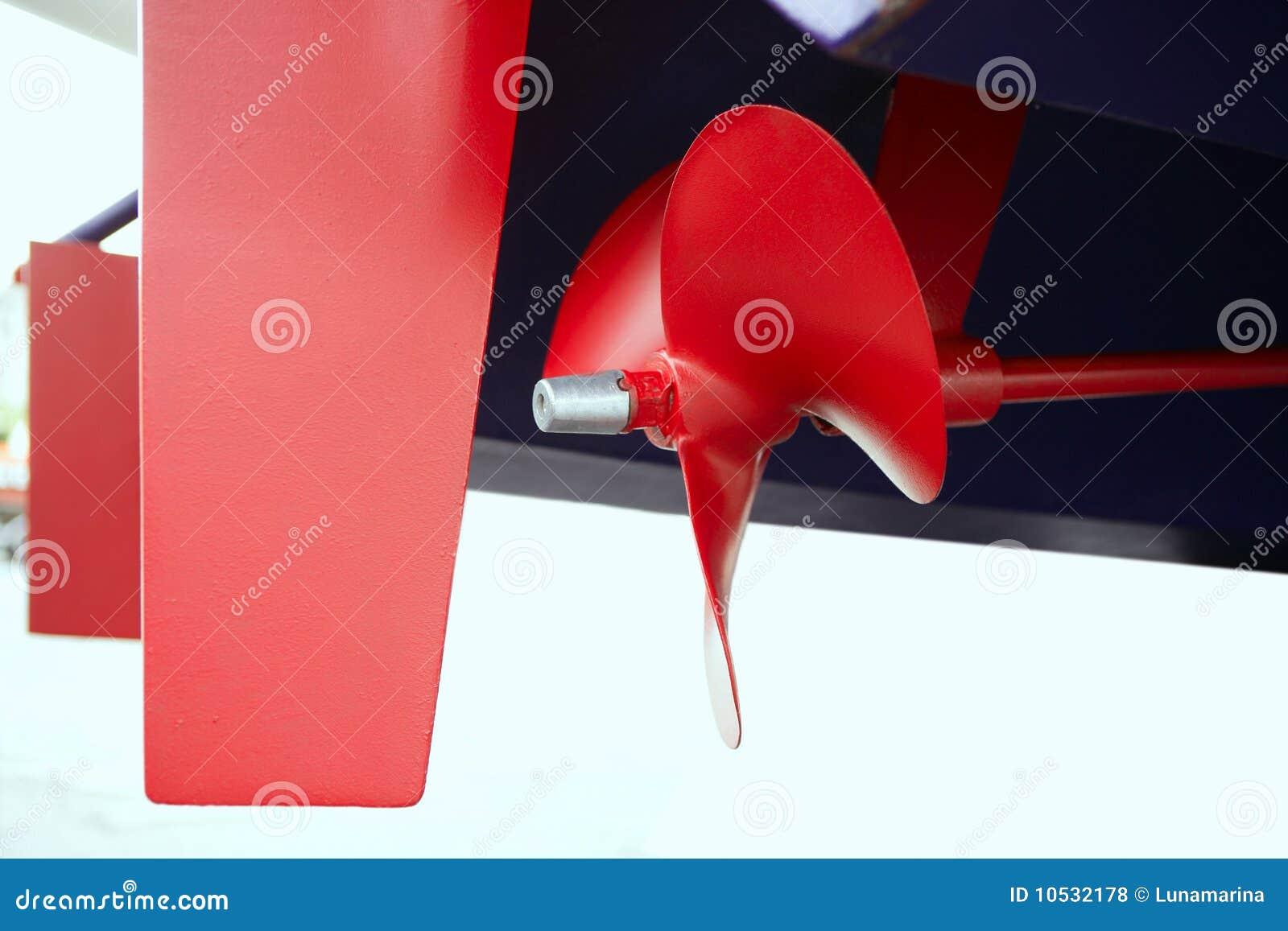Rode de verf propeler schroef van de boot in blauwe schilboot stock foto afbeelding 10532178 - Maken rode verf ...