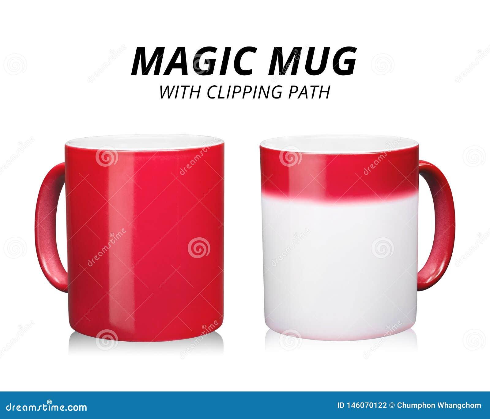 Rode die koffiemok op witte achtergrond wordt ge?soleerd Malplaatje van ceramische container voor drank Veranderende kleur wannee