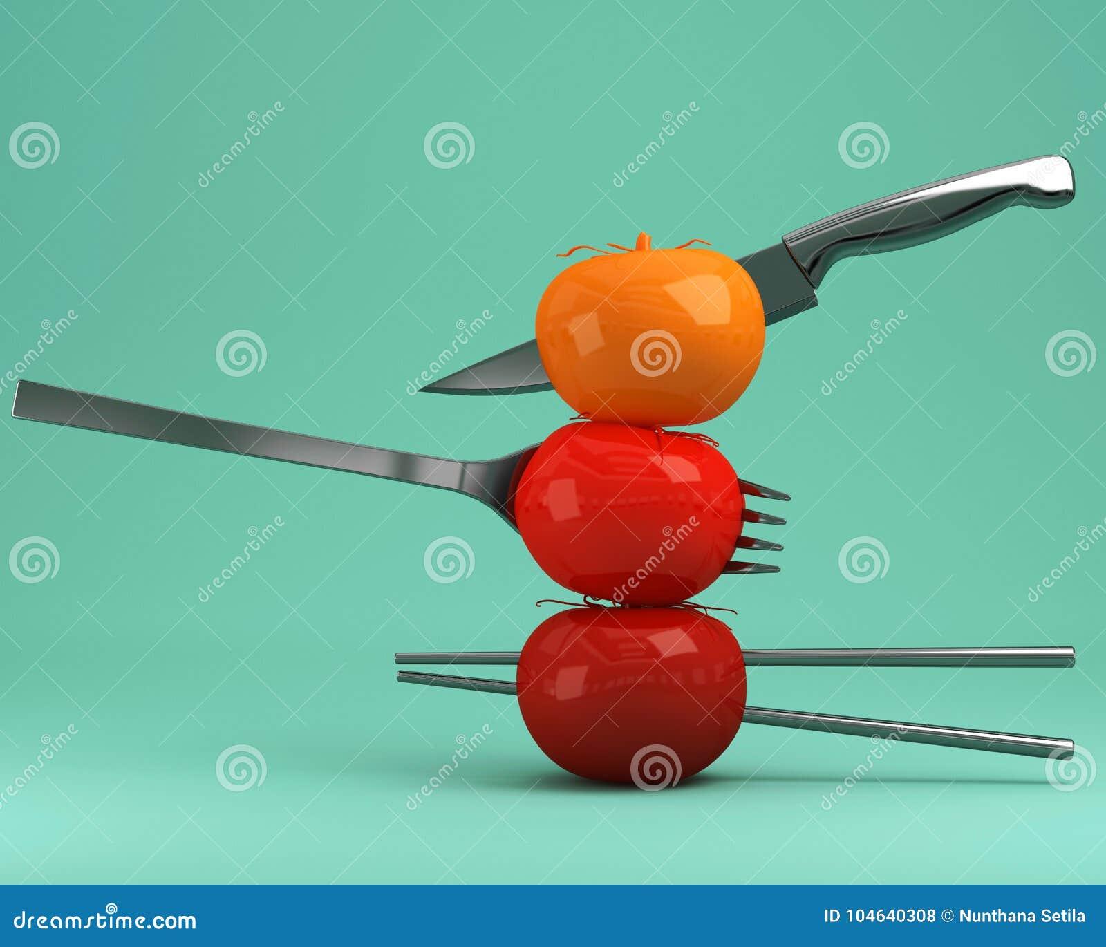 Download Rode Die Tomaten Op Keukengerei Op Groene Pastelkleurachtergrond Worden Gespietst Stock Illustratie - Illustratie bestaande uit inspireer, element: 104640308