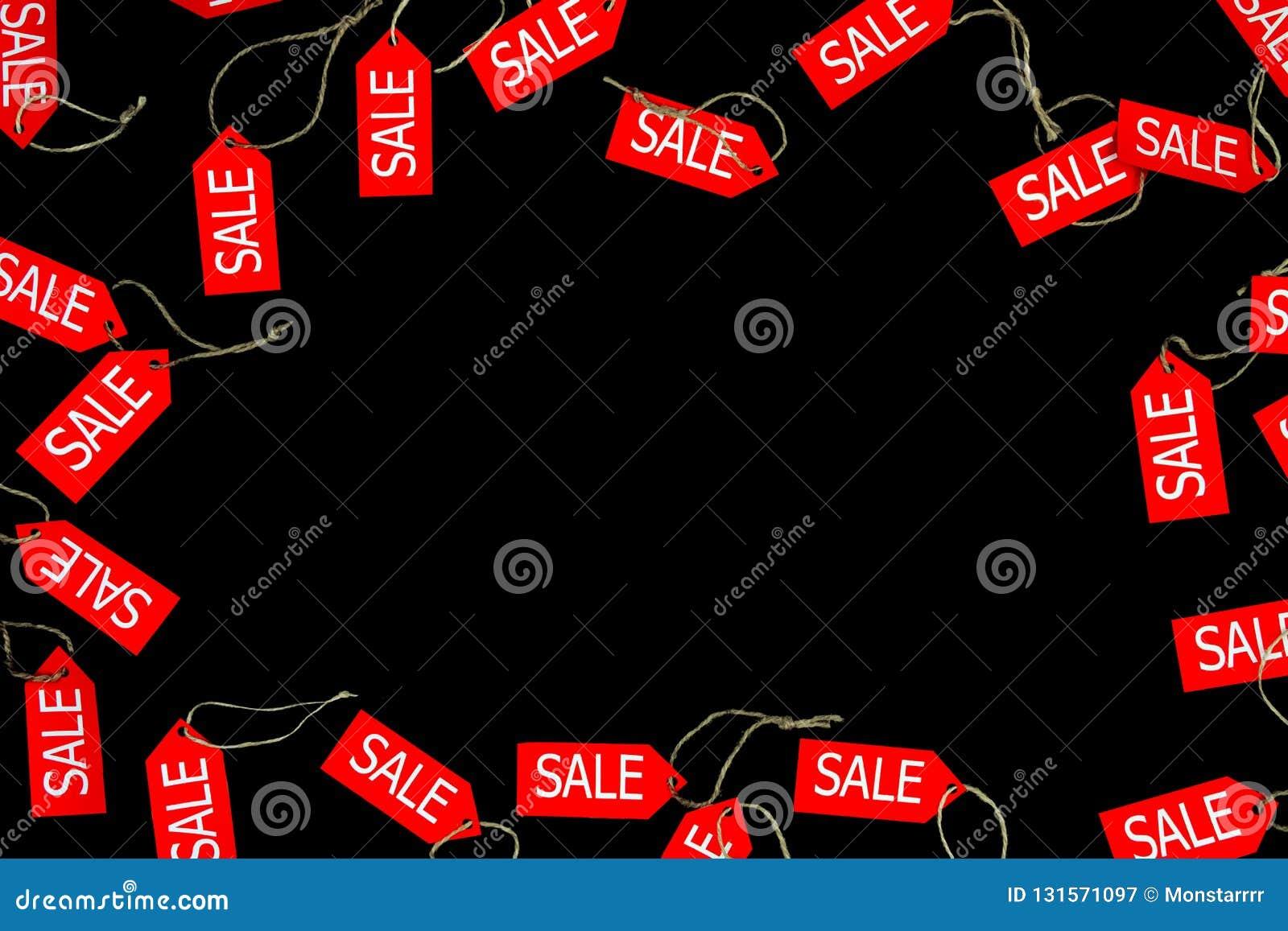 Rode die verkoop en kortingswinkeletiketten op zwarte bakcground met ruimte voor tekst tijdens zwarte vrijdagvakantie worden geïs