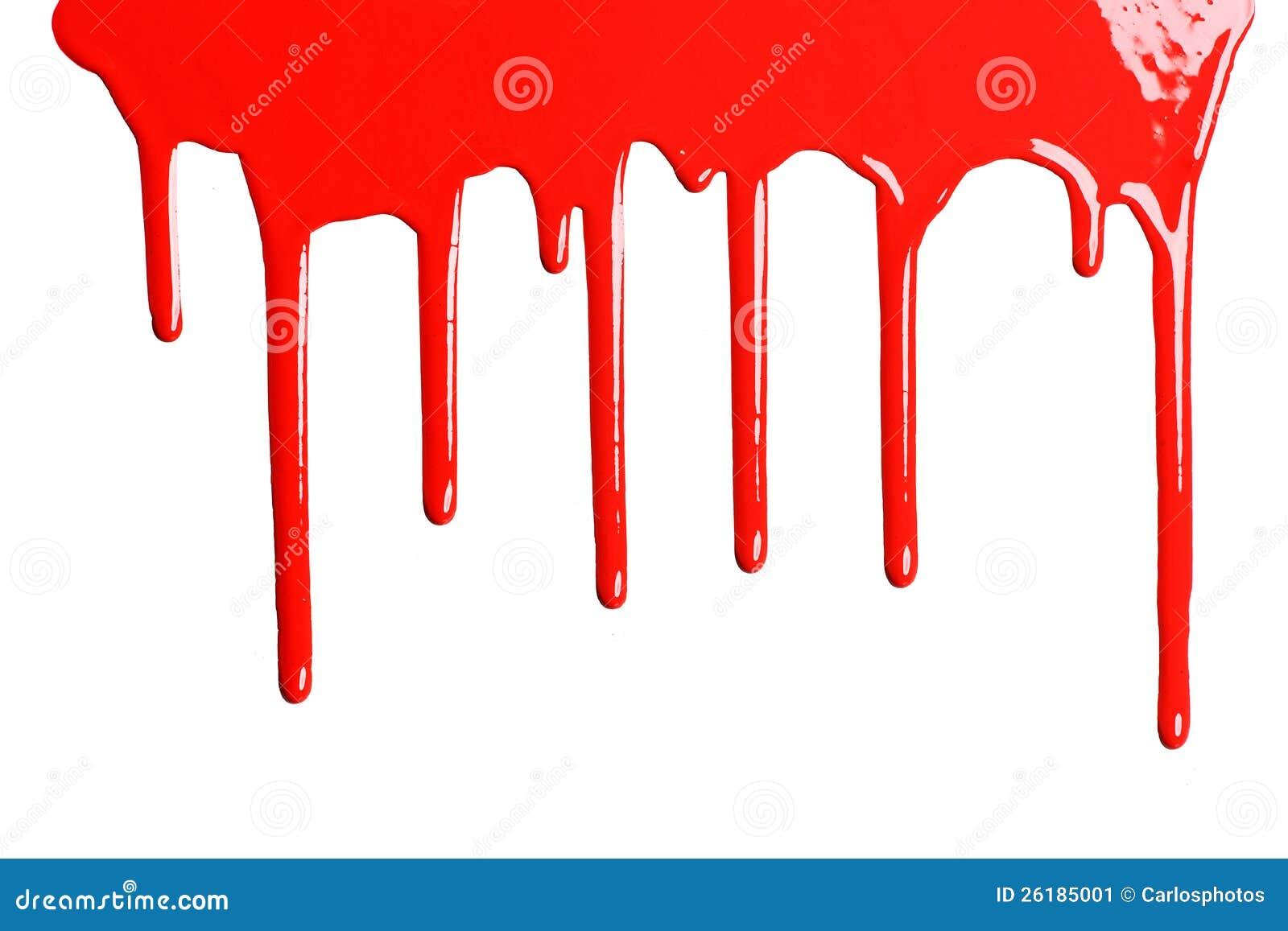Rode druipende verf