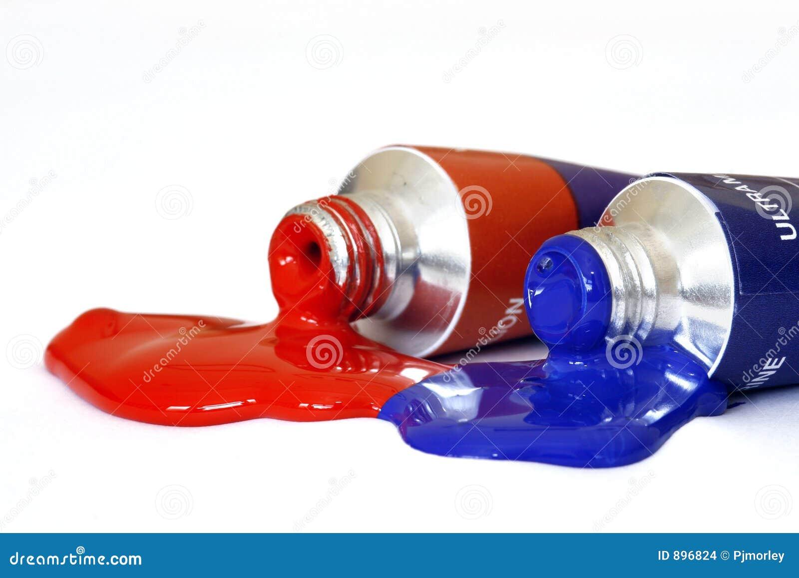 Rode en Blauwe AcrylVerf