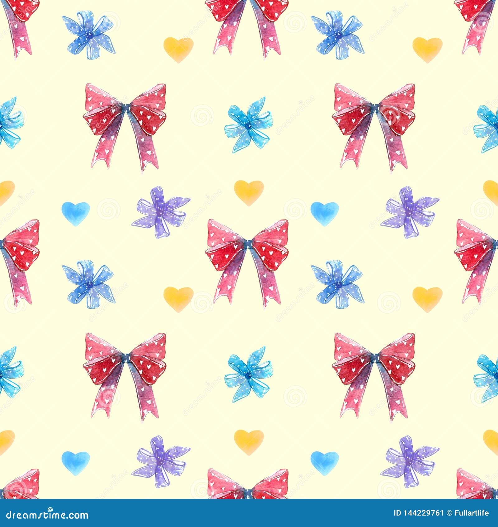 Rode en blauwe bogen, de uitloper van de wervelingslolly met harten naadloos patroon