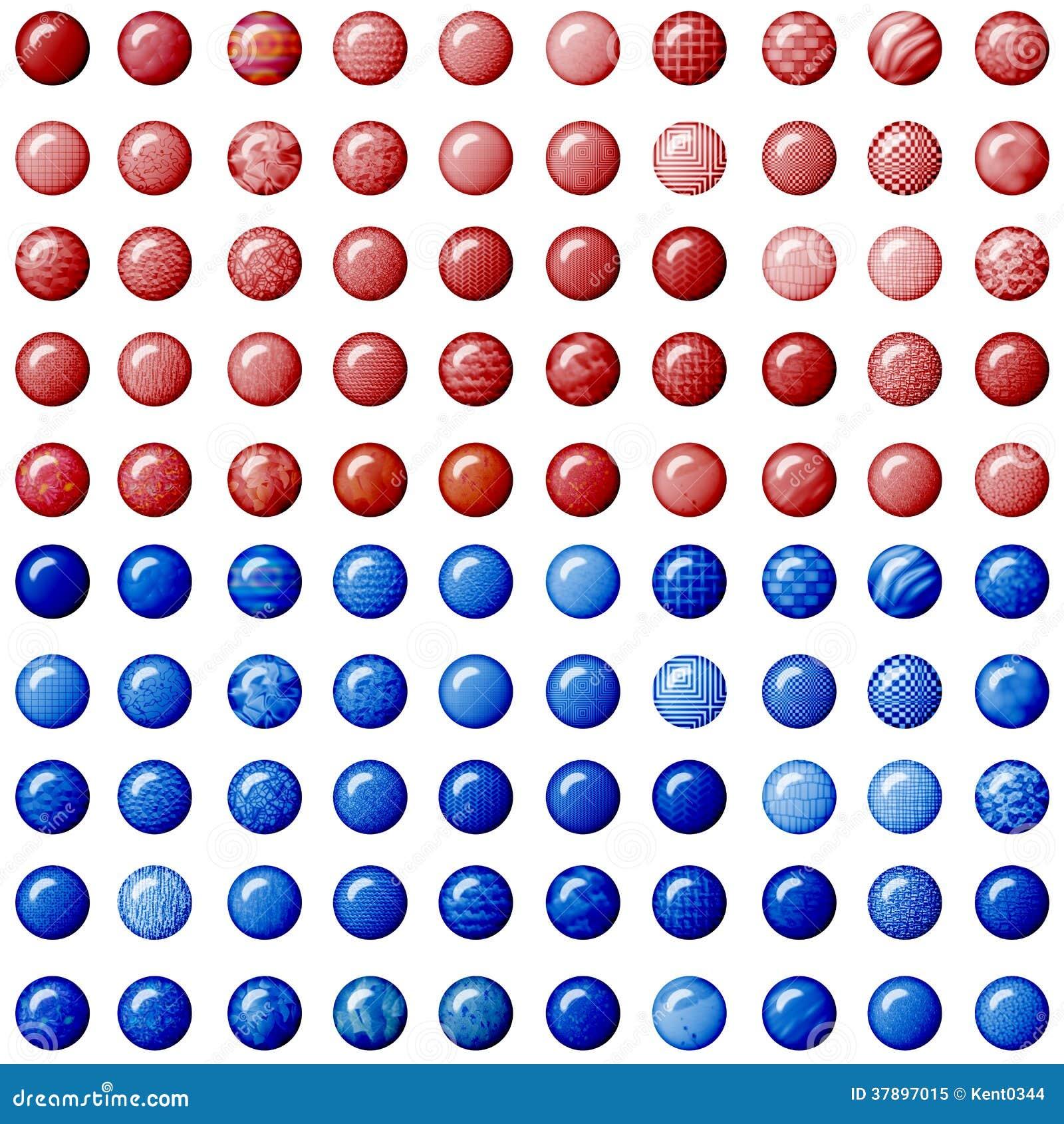 Rode en blauwe knopen