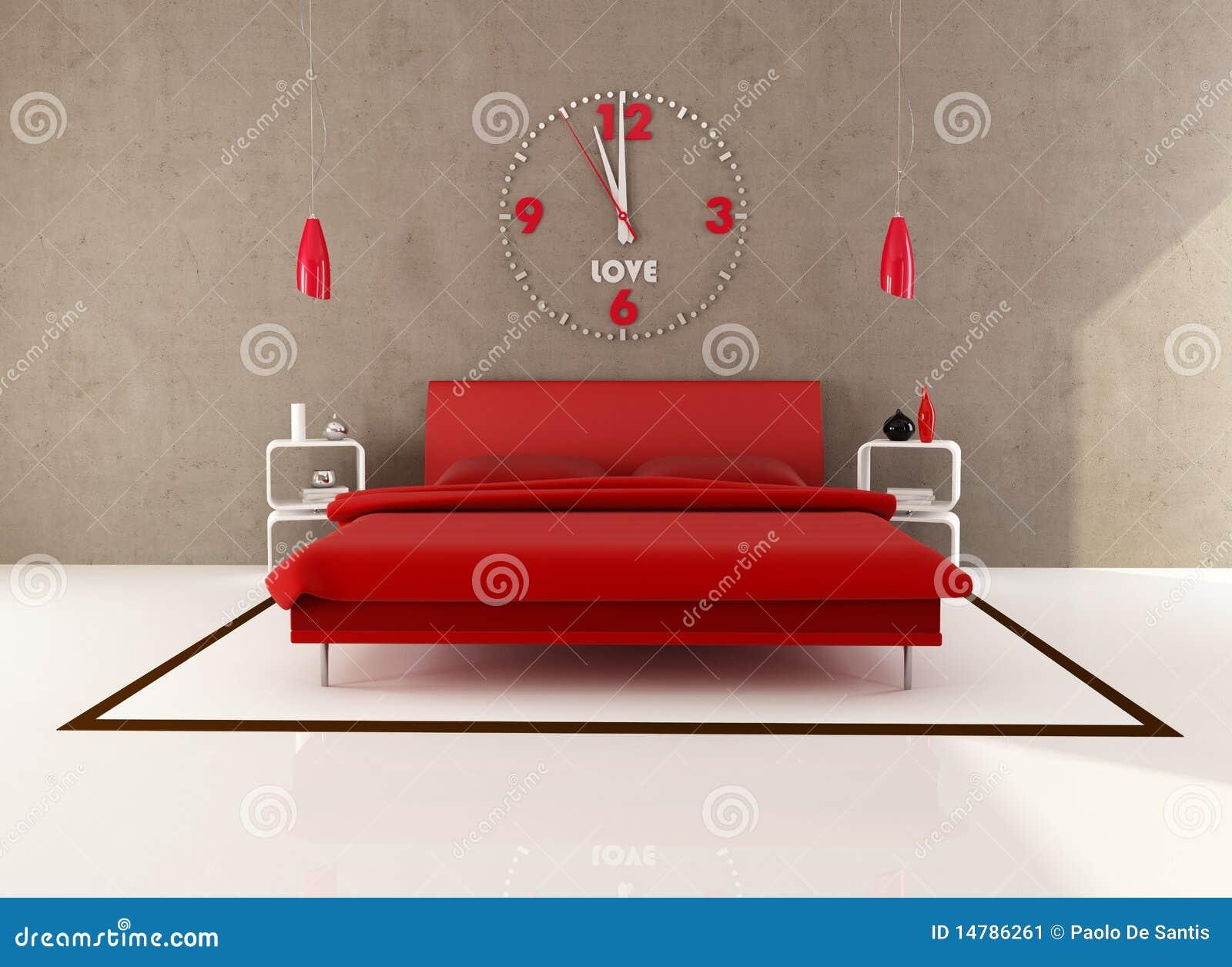 Rode en bruine slaapkamer stock afbeelding   afbeelding: 14786261