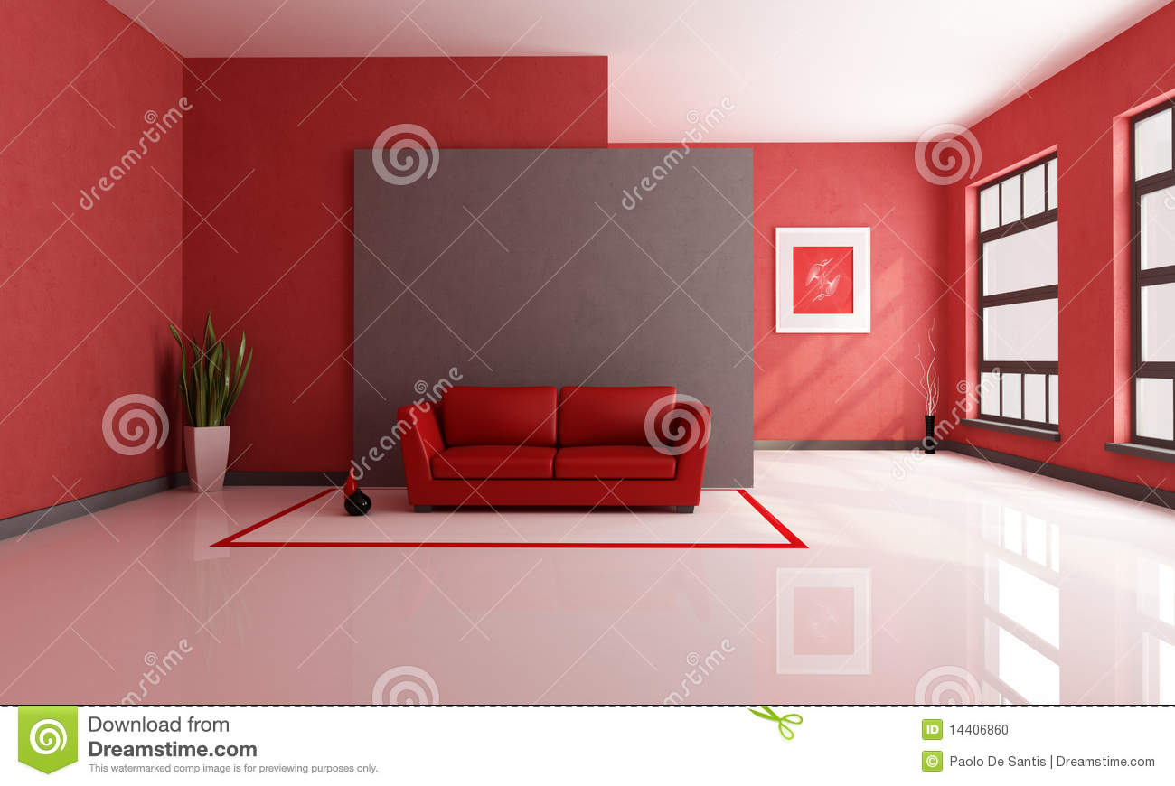 Woonkamer Rode Muur : Red and Brown Living Room