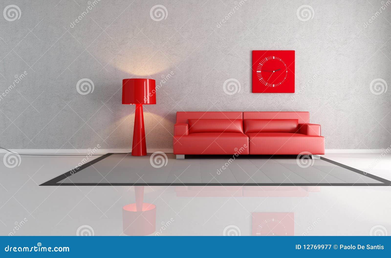 Woonkamer witte beige - Grijze en rode muur ...