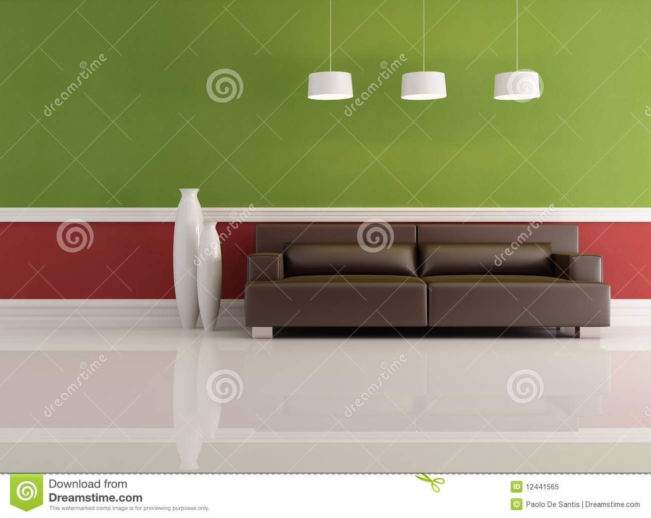 Woonkamer Rode Muur : Red and Green Living Room
