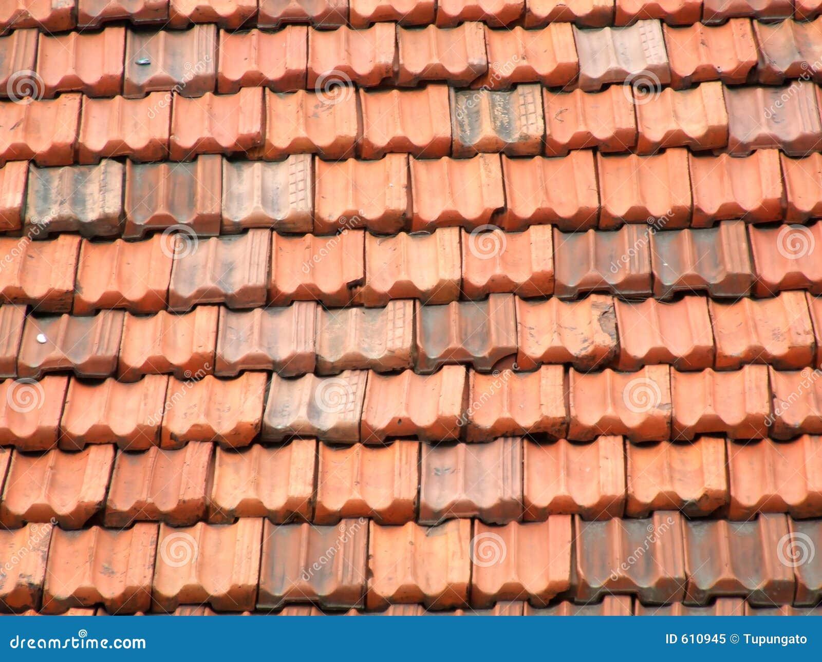 Rode En Oranje Daktegels Stock Afbeelding Afbeelding