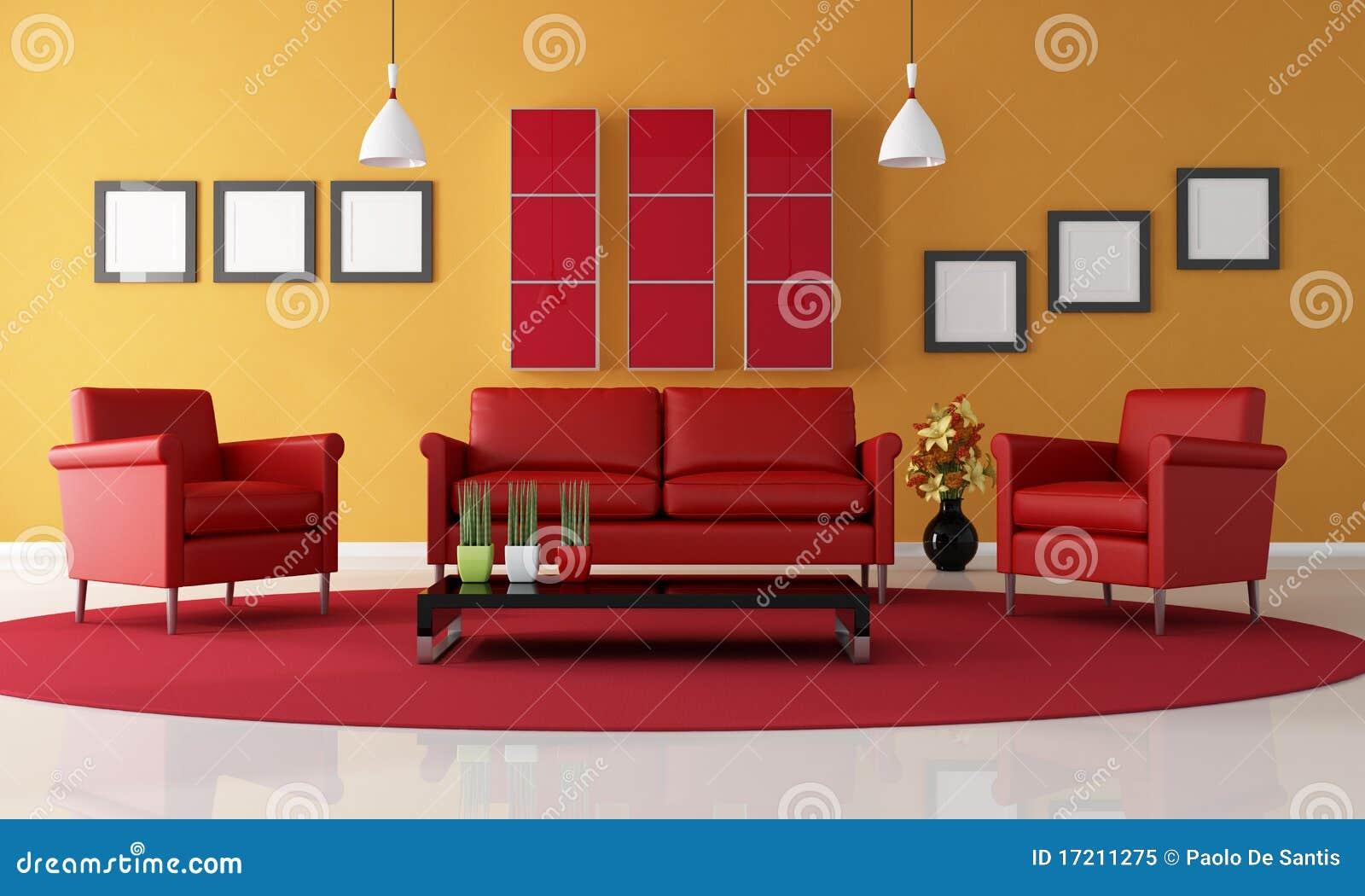 Rode en oranje woonkamer stock illustratie afbeelding - Afbeelding eigentijdse woonkamer ...
