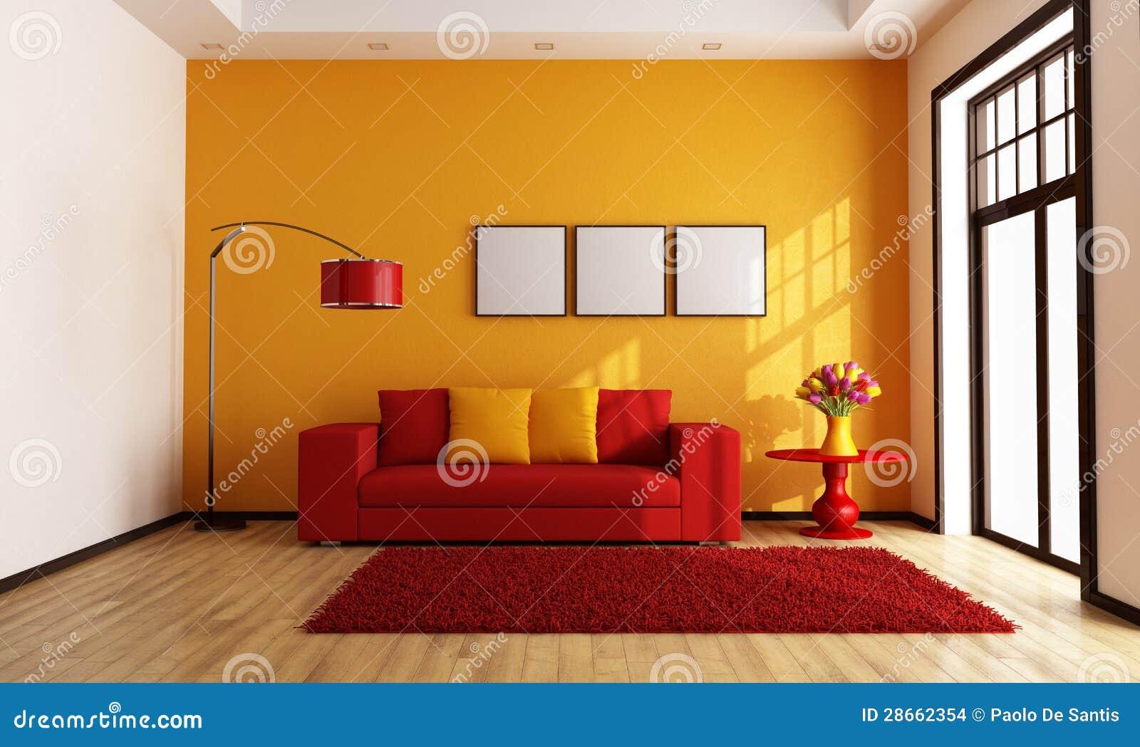 Minimalistische Oranje Woonkamer Royalty-vrije Stock Foto's ...