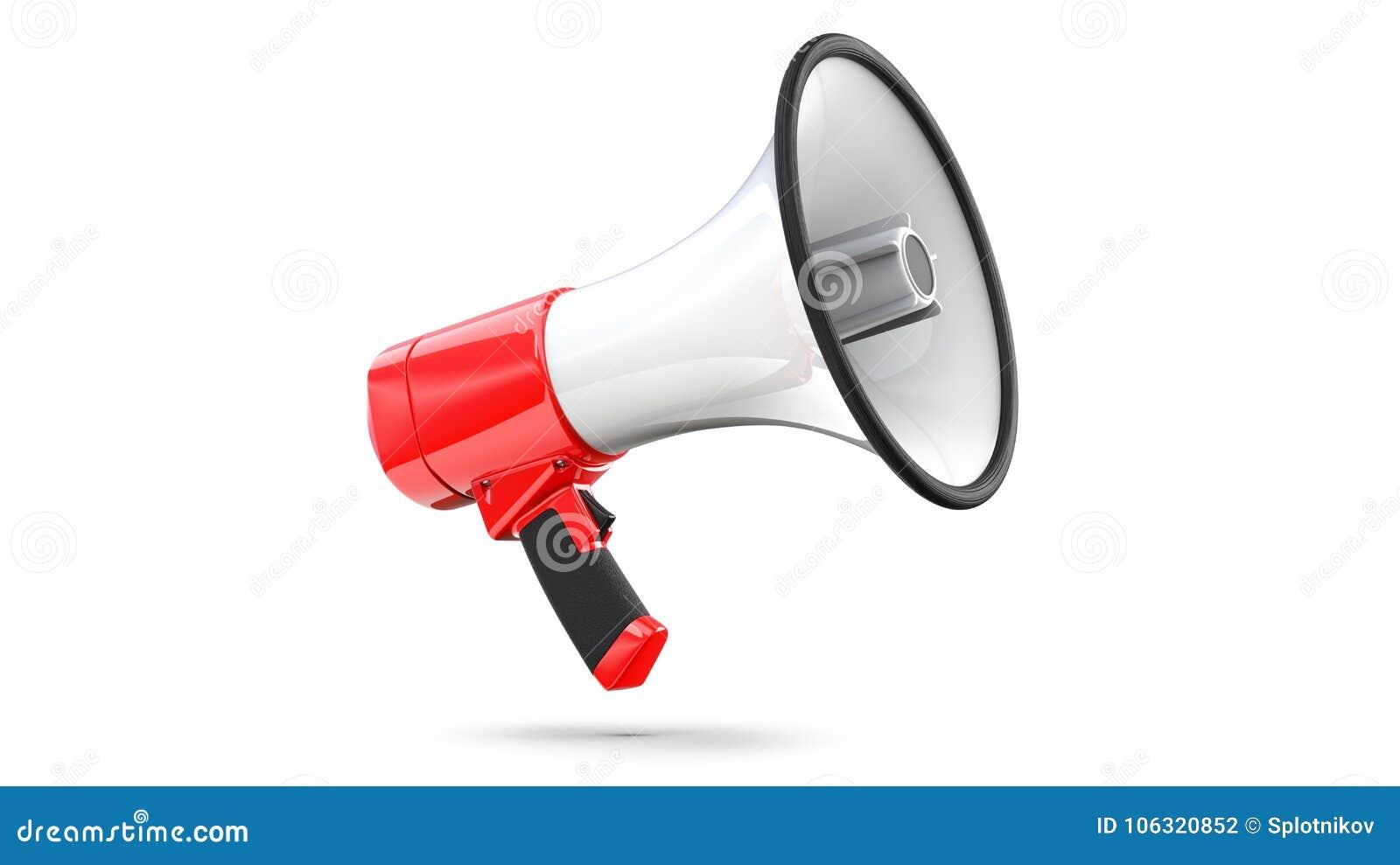 Rode en Witte die Megafoon op Witte Achtergrond wordt geïsoleerd het 3d teruggeven van megafoon, dossier bevat een het knippen we
