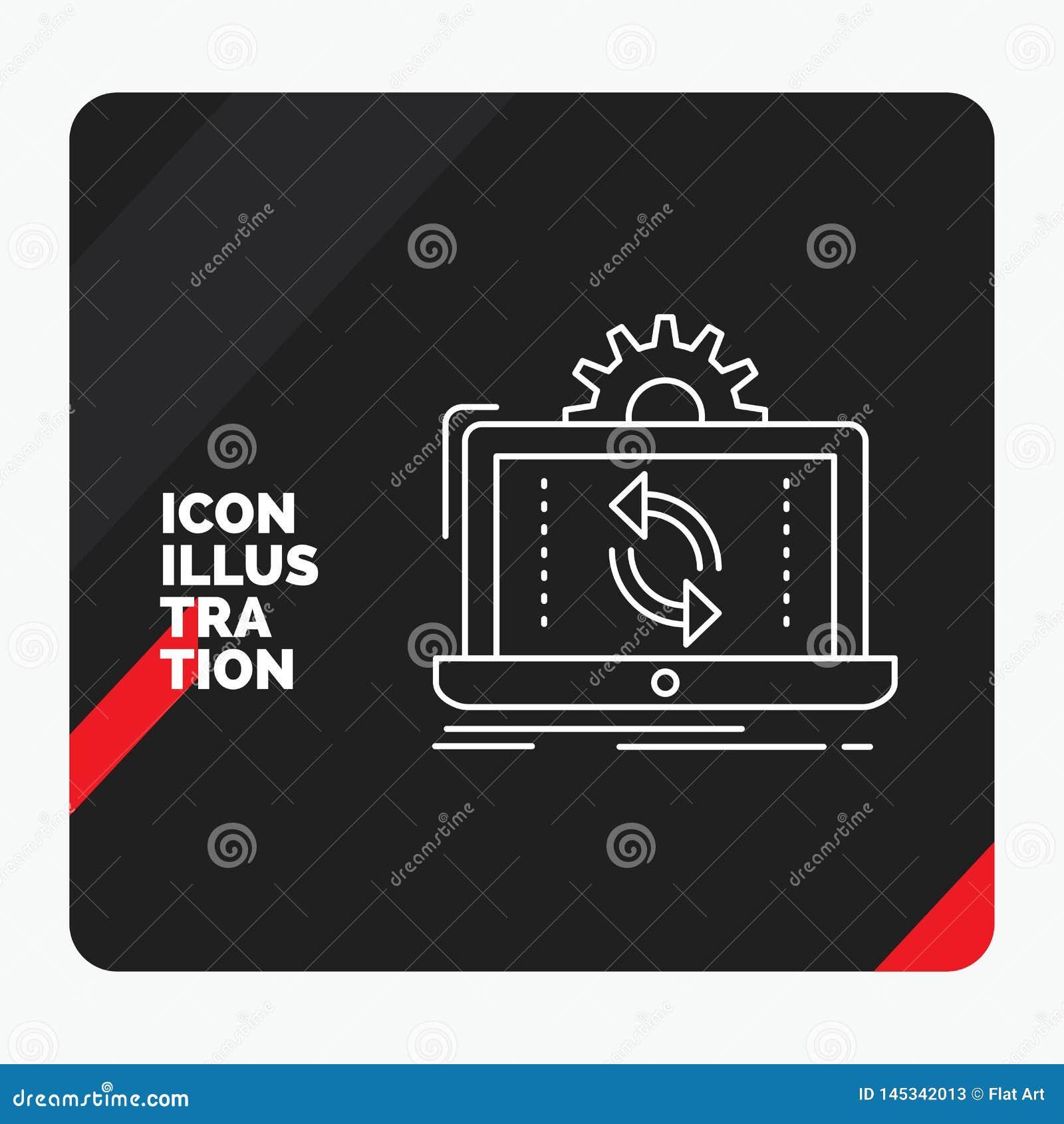 Rode en Zwarte Creatieve presentatieachtergrond voor gegevens, verwerking, Analyse, rapportering, het Pictogram van de synchronis