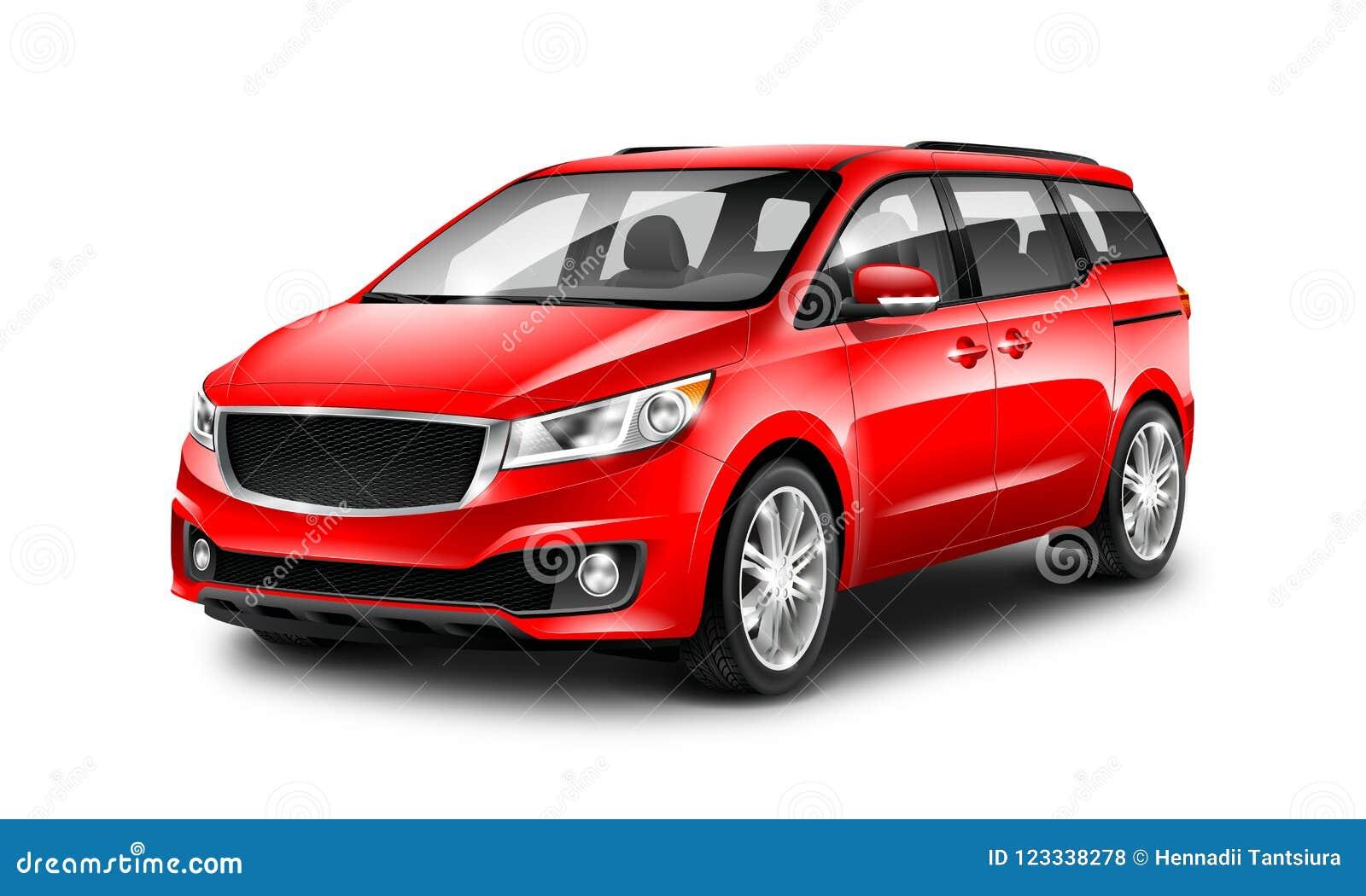 Rode Generische Minivan-Auto op Witte Achtergrond De mening van het perspectief 3D Illustratie met Geïsoleerde Weg
