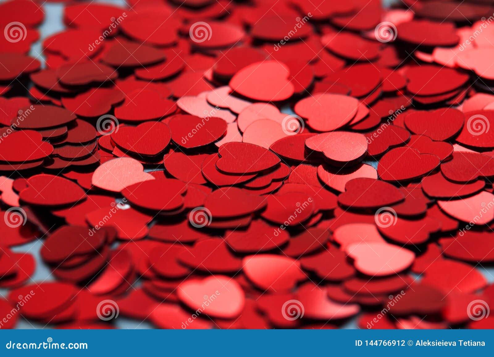 Rode hartconfettien Valentins daq concept