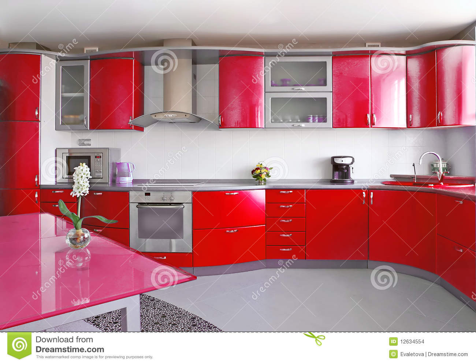 Rode keuken stock afbeeldingen   afbeelding: 12634554