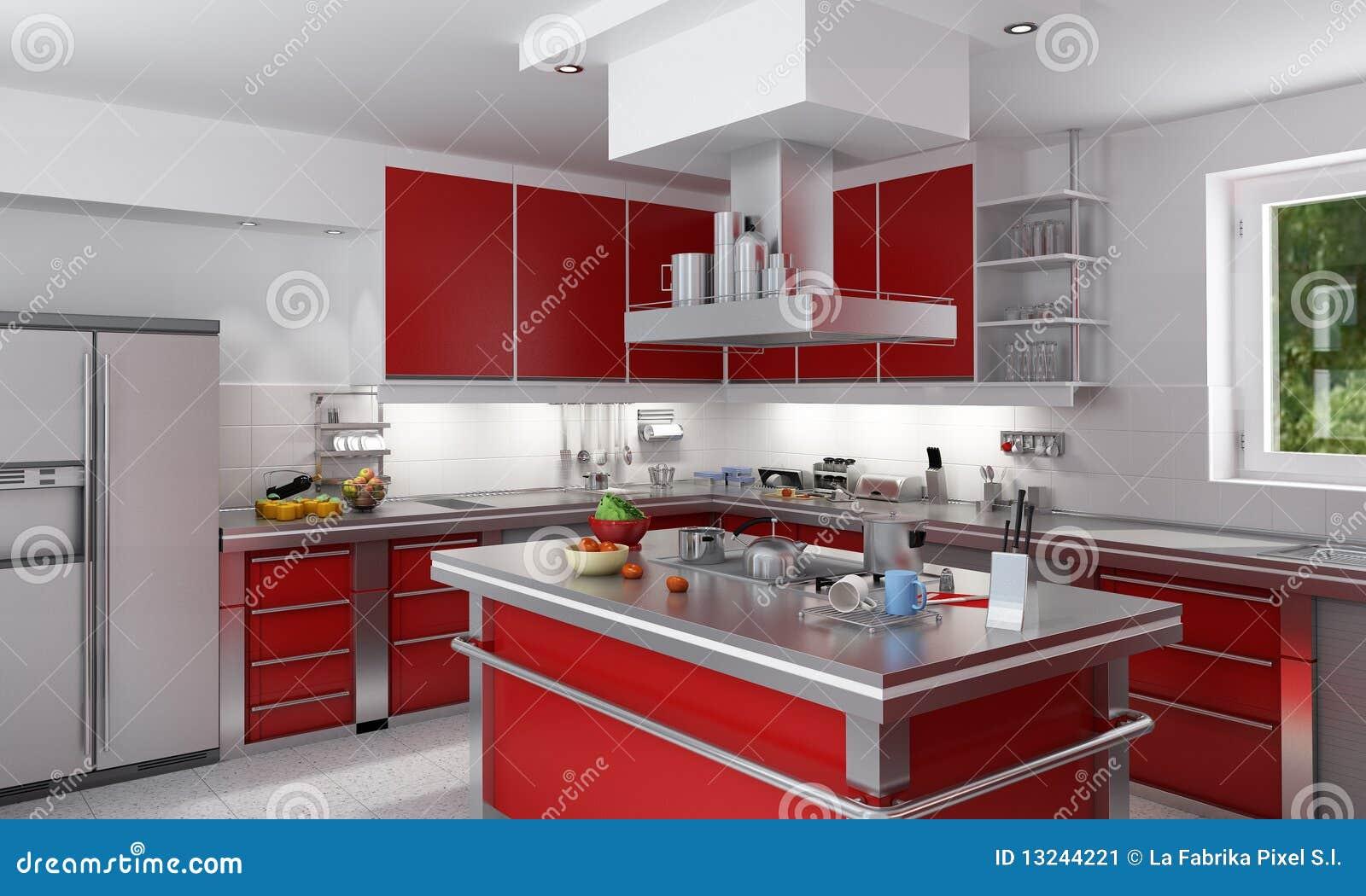 Rode keuken stock afbeelding   afbeelding: 13244221