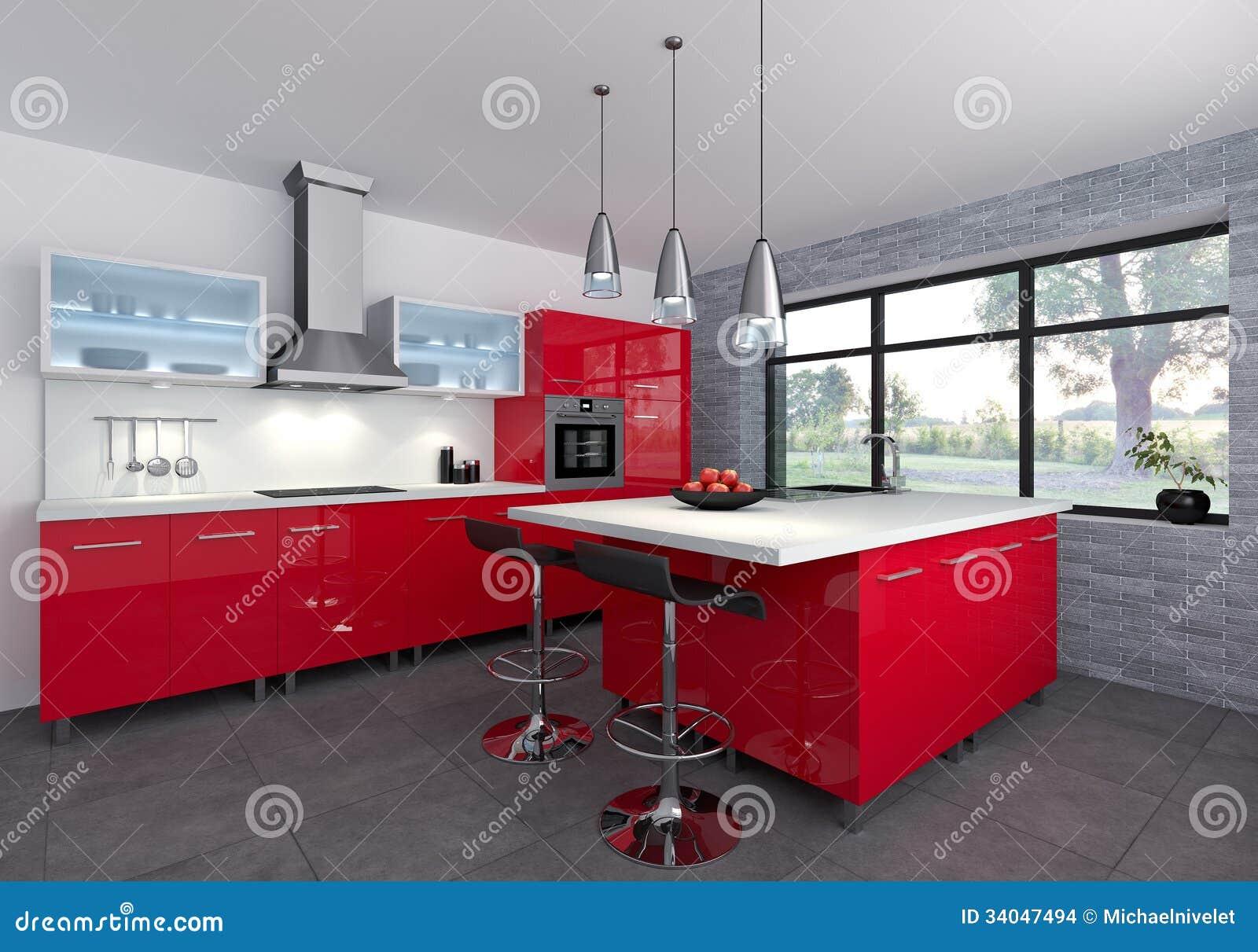 Rode keuken stock afbeeldingen   afbeelding: 34047494