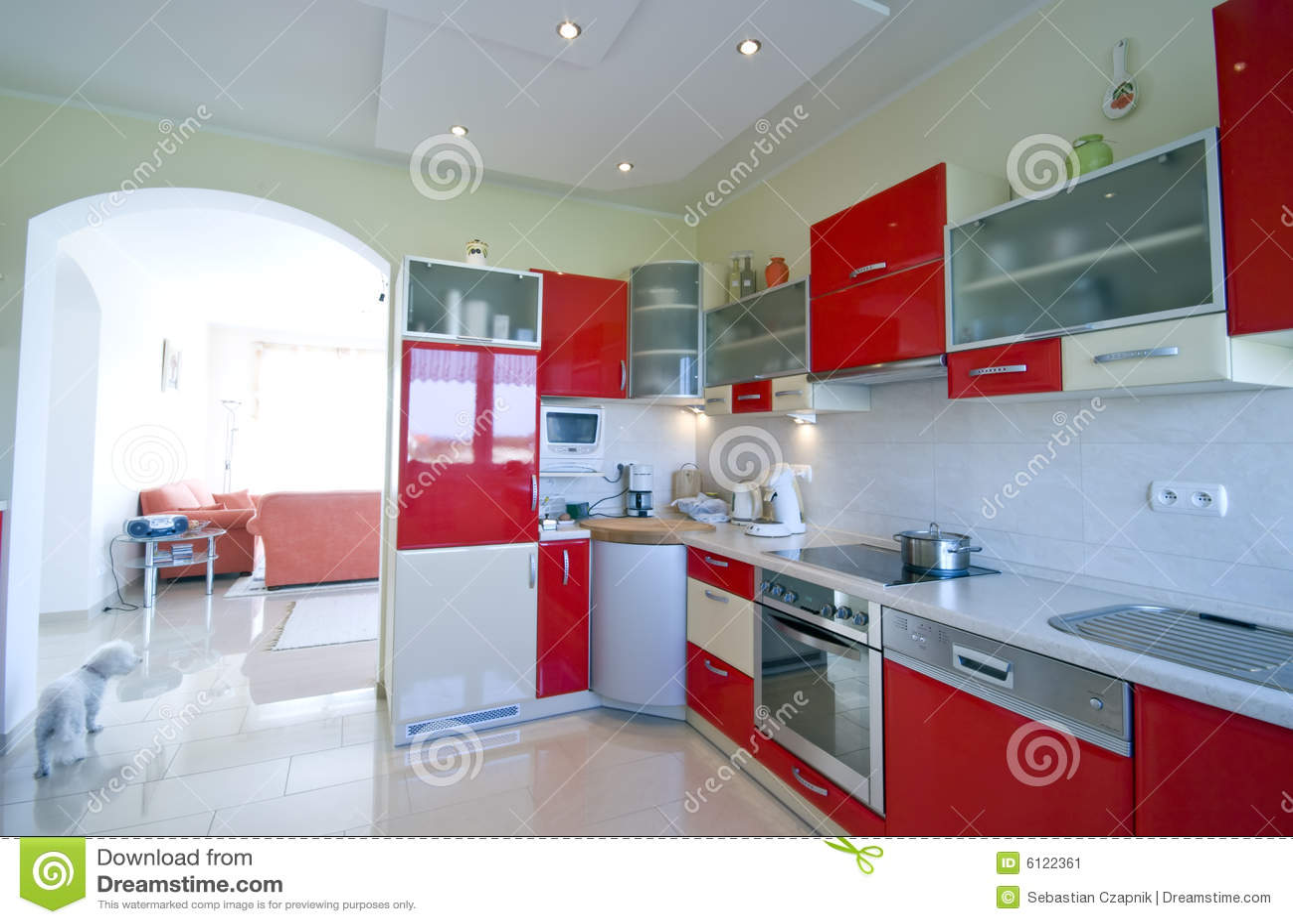 Rode keuken stock afbeelding   afbeelding: 6122361