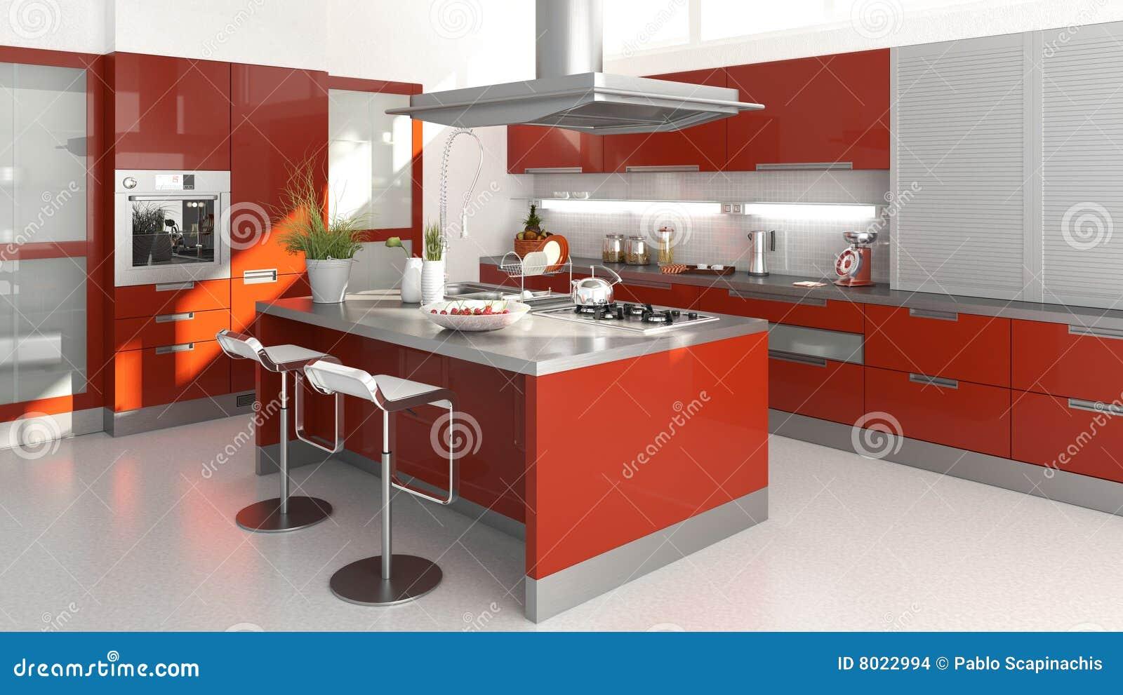 Rode Keuken Stock Afbeeldingen - Afbeelding: 8022994