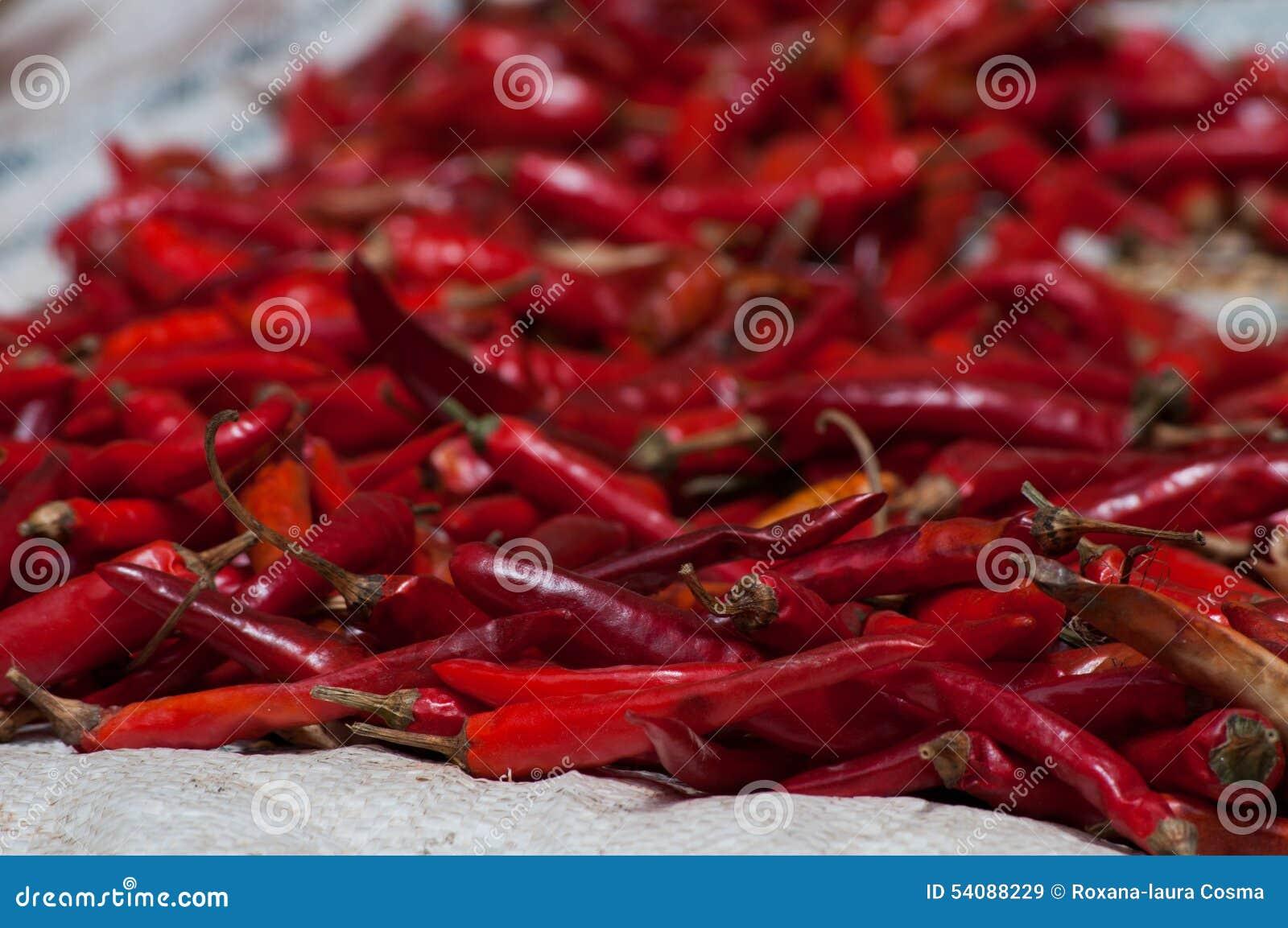 Rode koele peper in een stapel voor verkoop