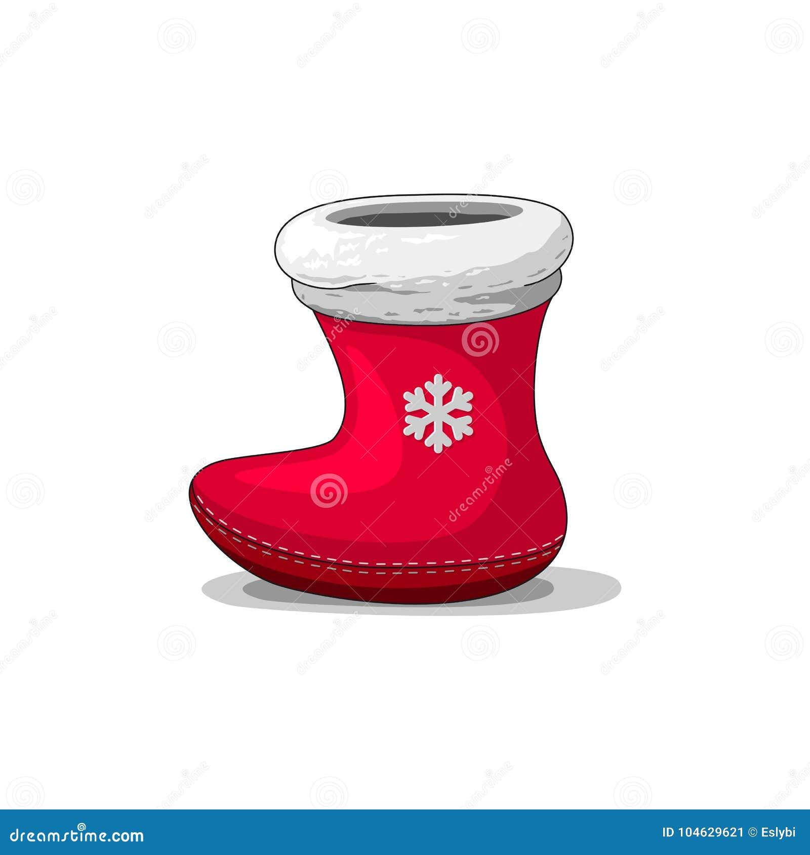 Download Rode Laars Voor Kerstmisgiften Van Santa Claus Vector Illustratie - Illustratie bestaande uit viering, verrassing: 104629621