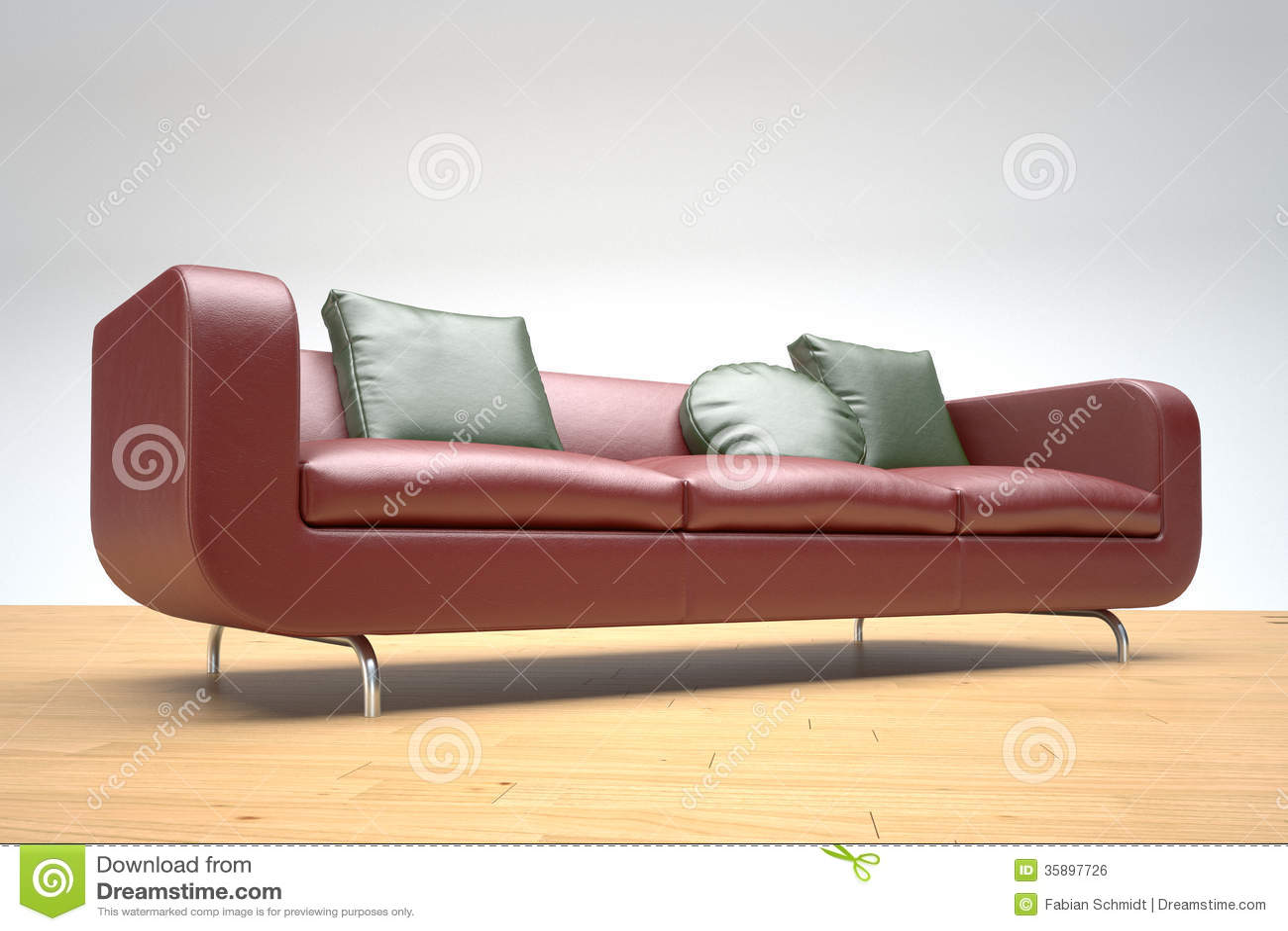 Rode leerbank en groene kussens stock illustratie for Sofa im raum