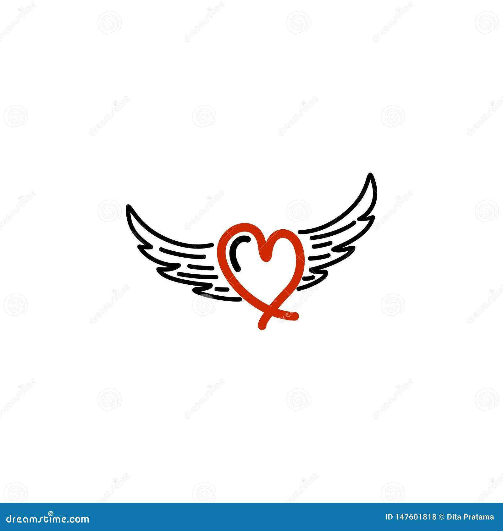 Rode liefde met vleugelembleem