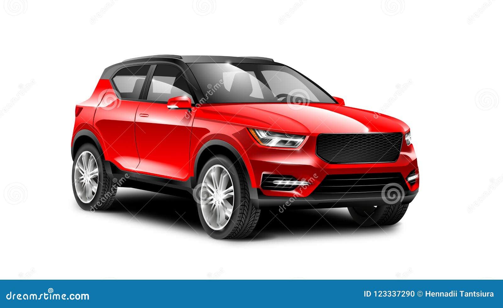 Rode Metaal Generische SUV-Auto op Witte Achtergrond met Geïsoleerde Weg